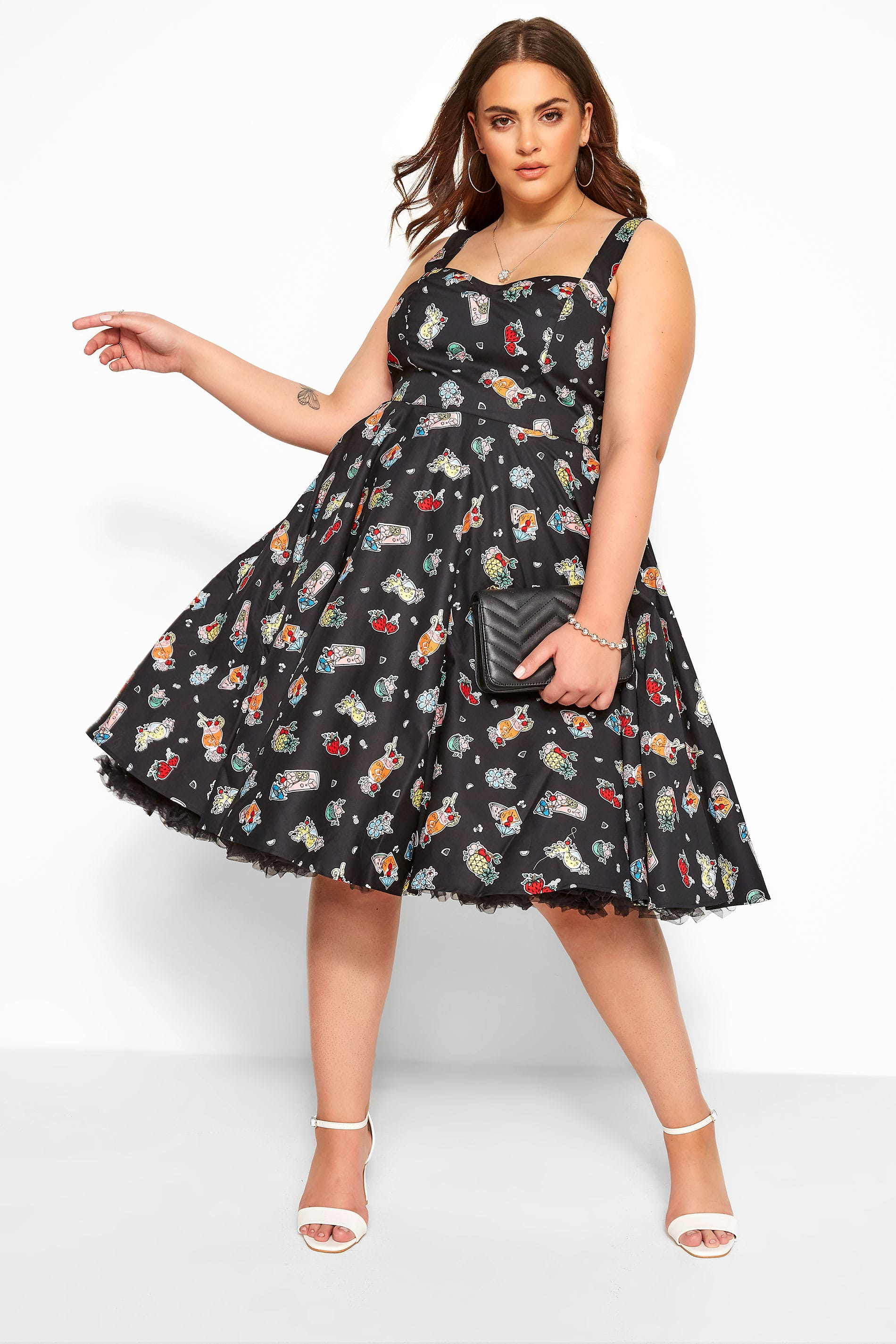 HELL BUNNY Black 'Pina Colada Tiki' Skater Dress