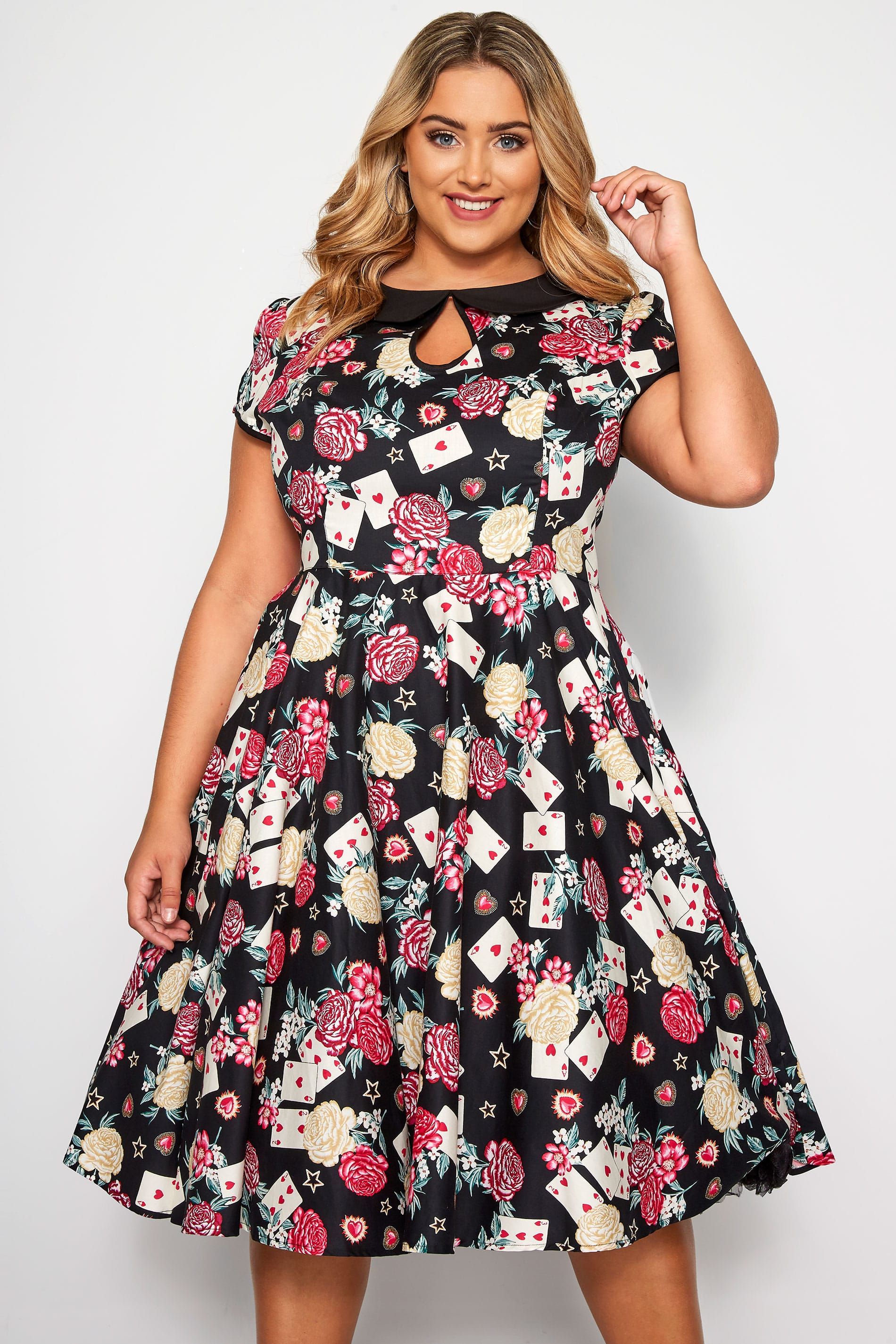 HELL BUNNY Black Queen Of Hearts Dress