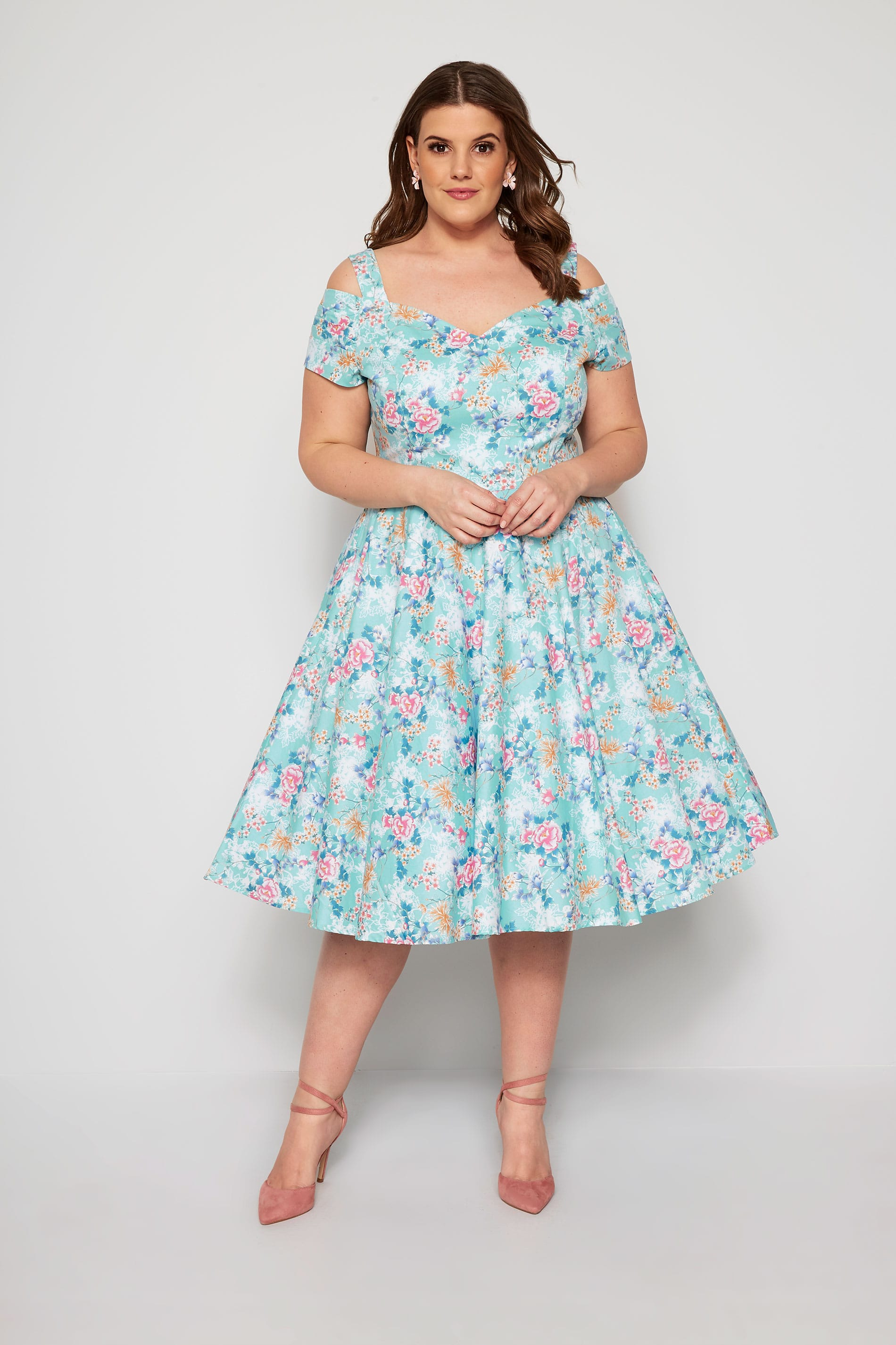 HELL BUNNY Blue Floral Yoko Cold Shoulder Dress
