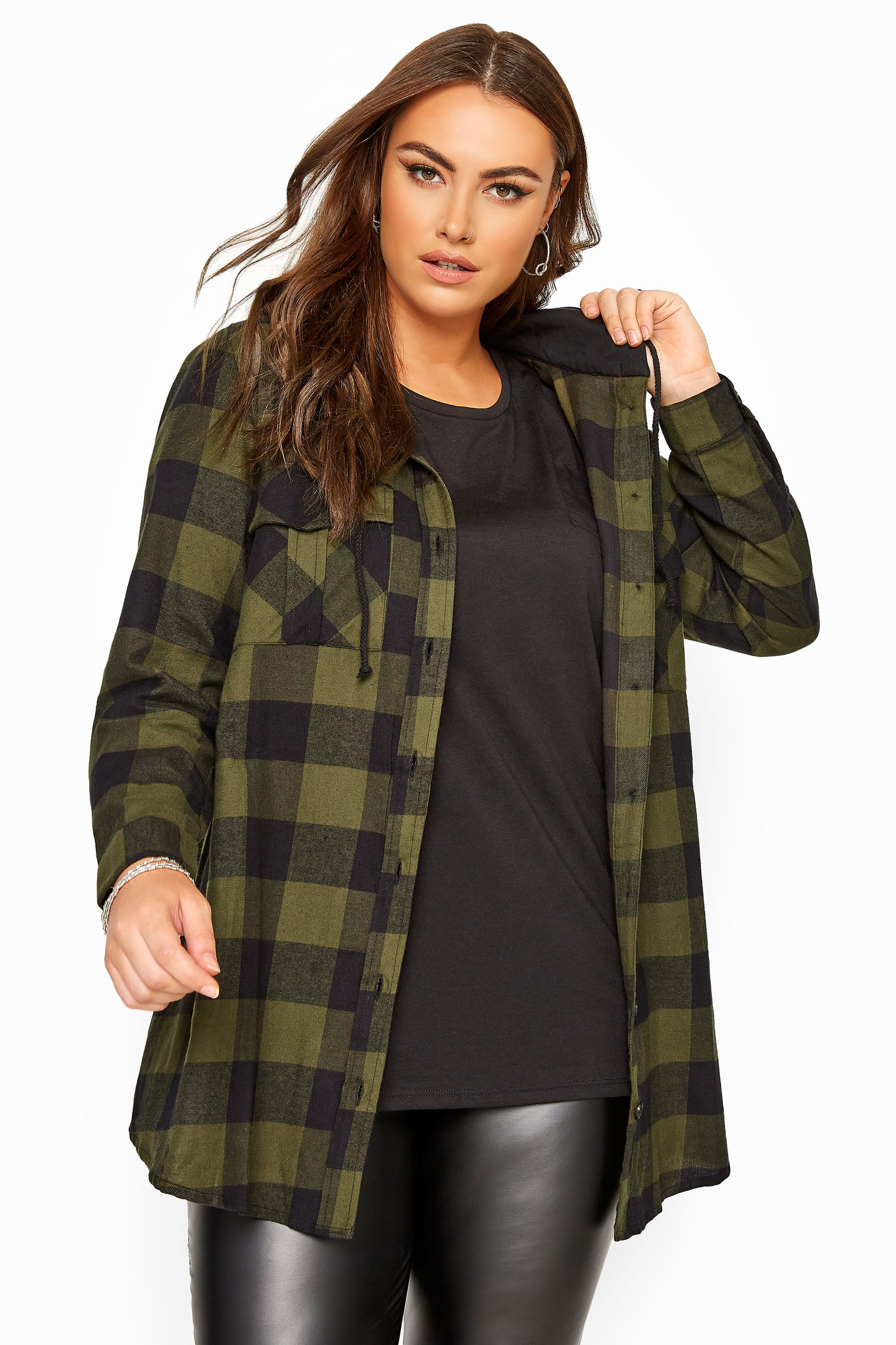 Green Check Brushed Hooded Shirt