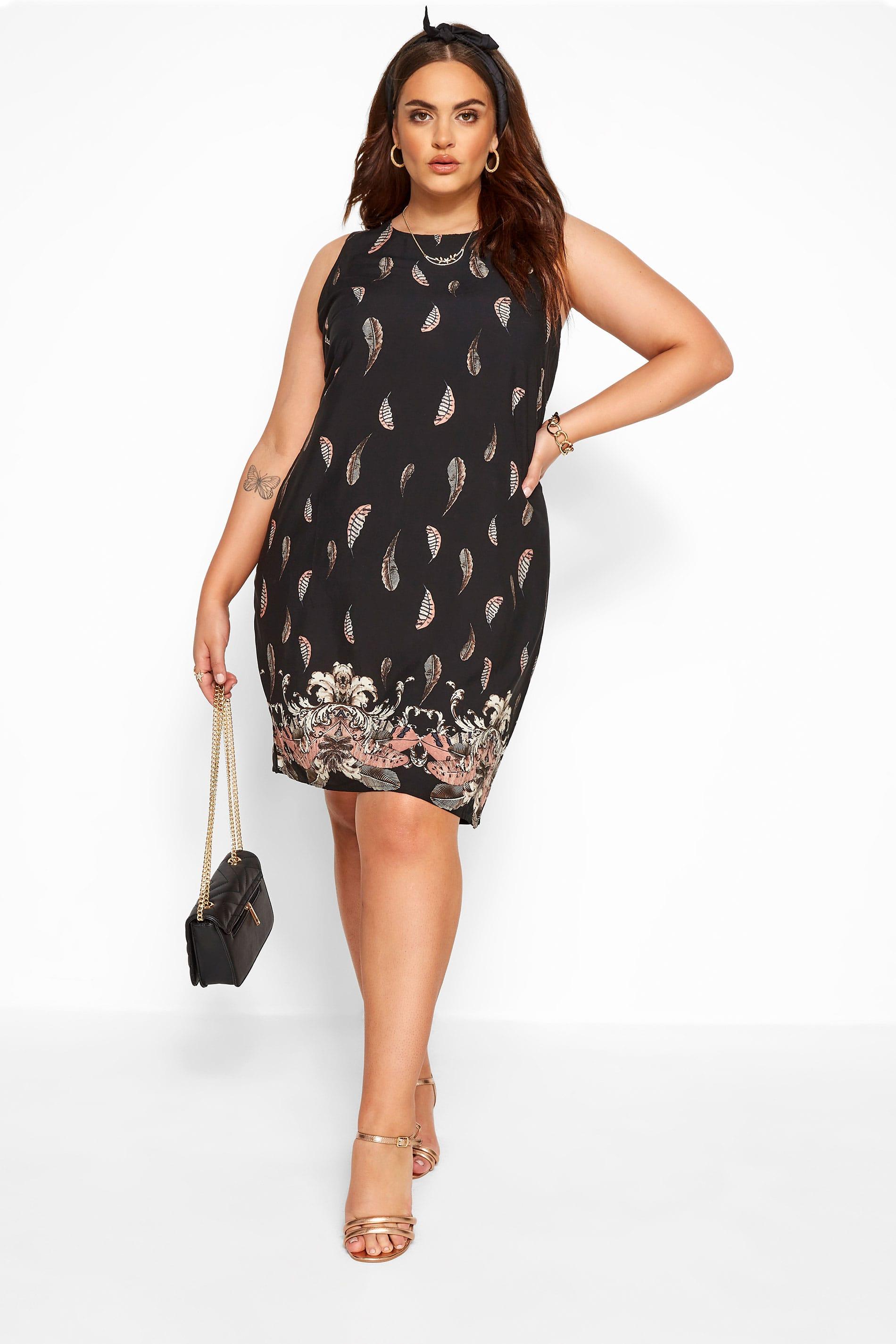 IZABEL CURVE Black Feather Print Shift Dress