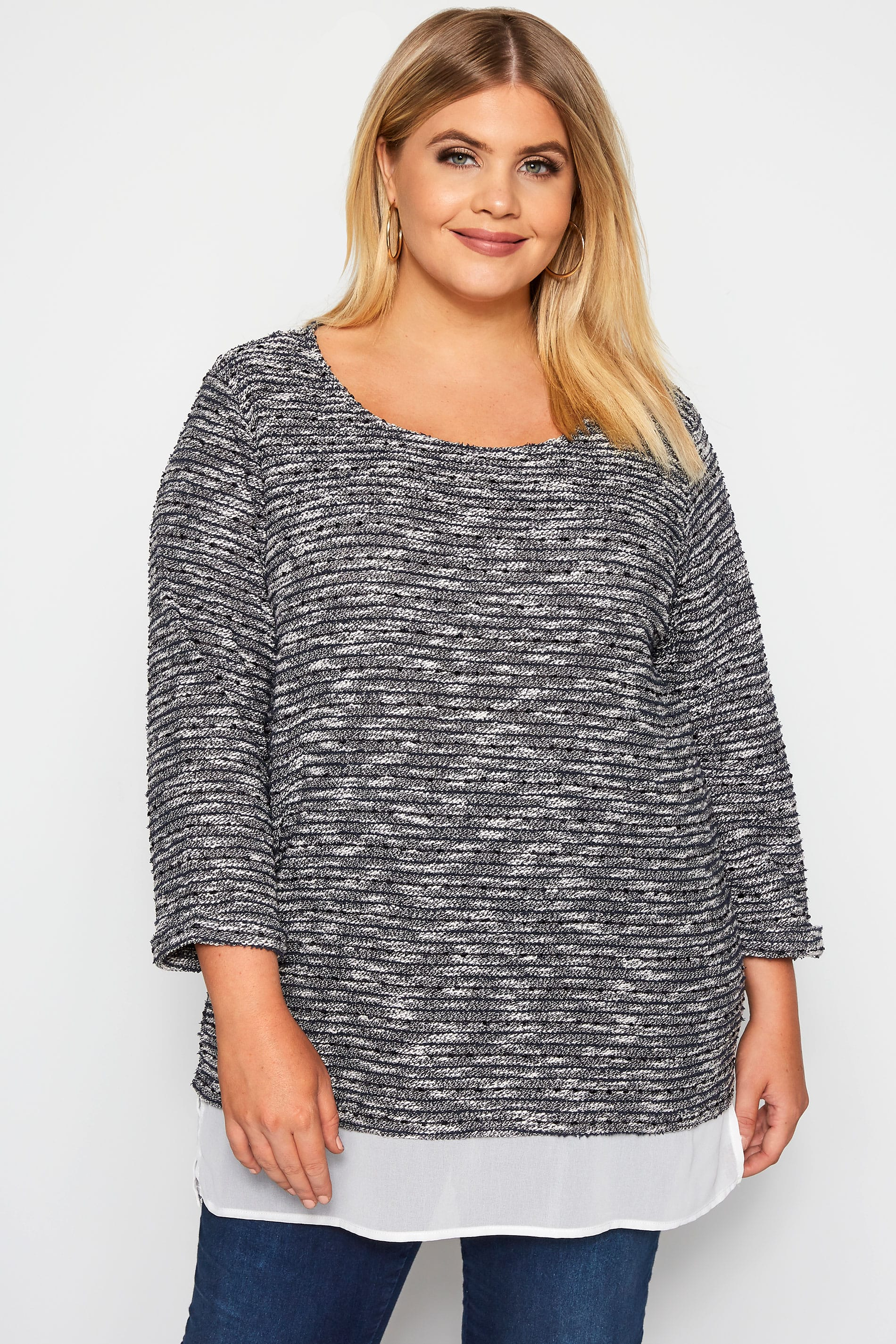 IZABEL CURVE Grey Mock 2 In 1 Knitted Top