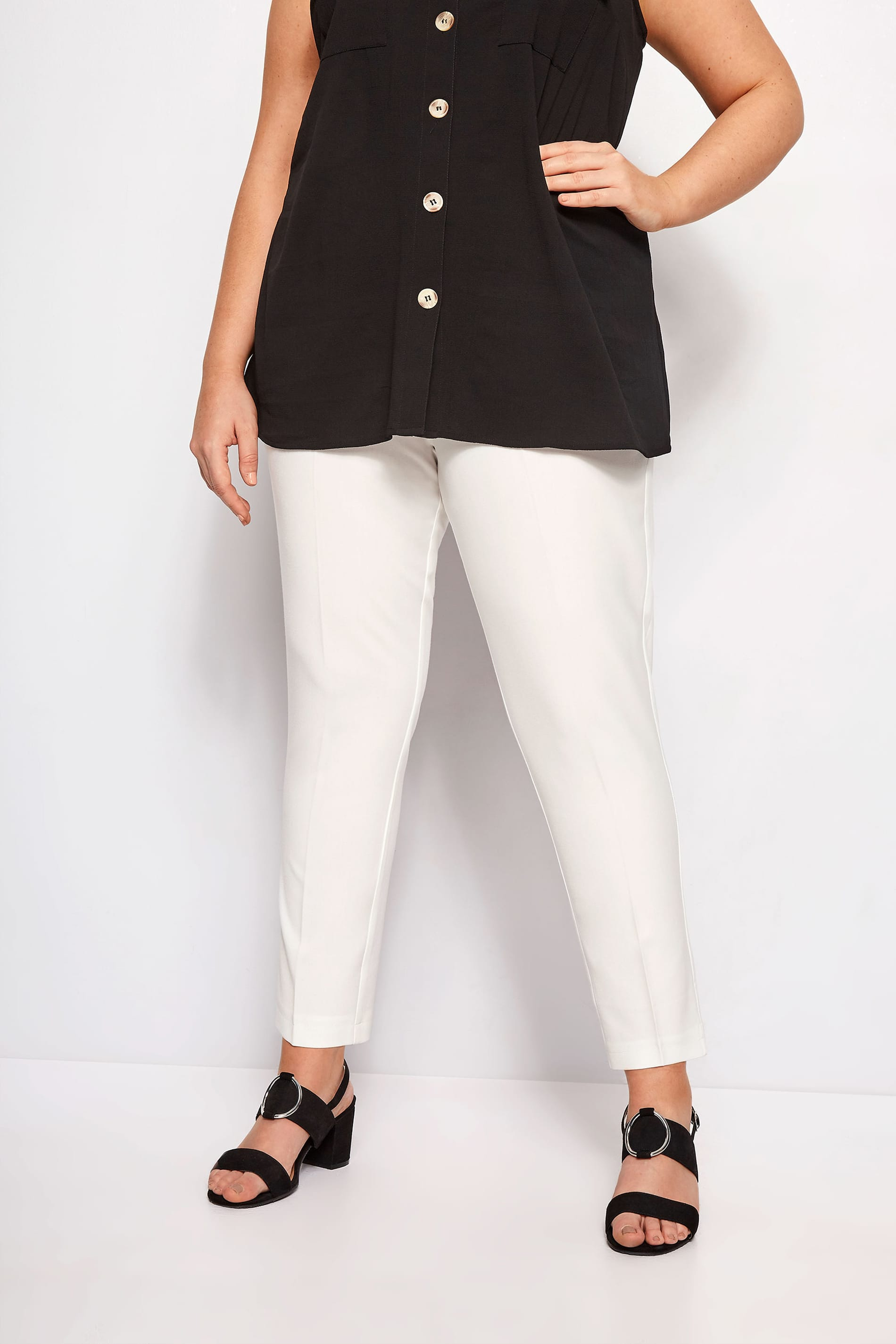 Ivory Tapered Crepe Trousers