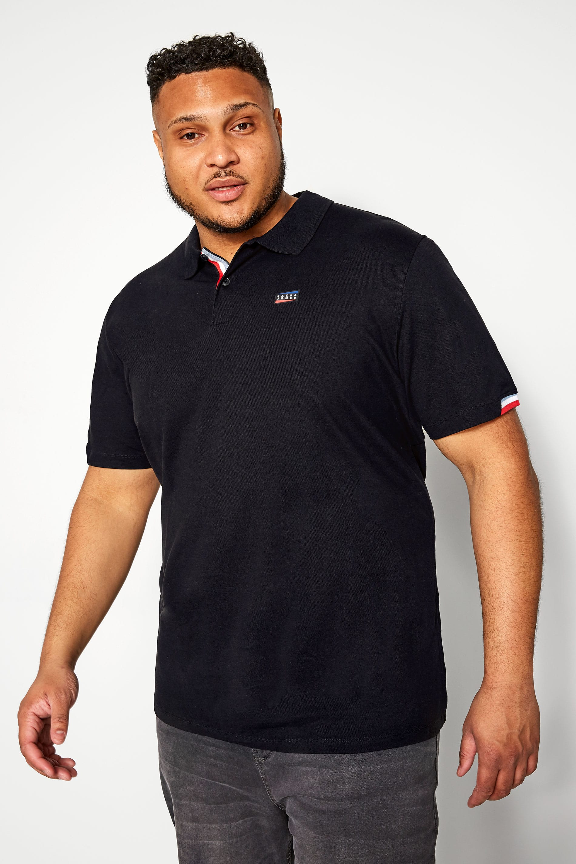 JACK & JONES Black Logo Polo Shirt