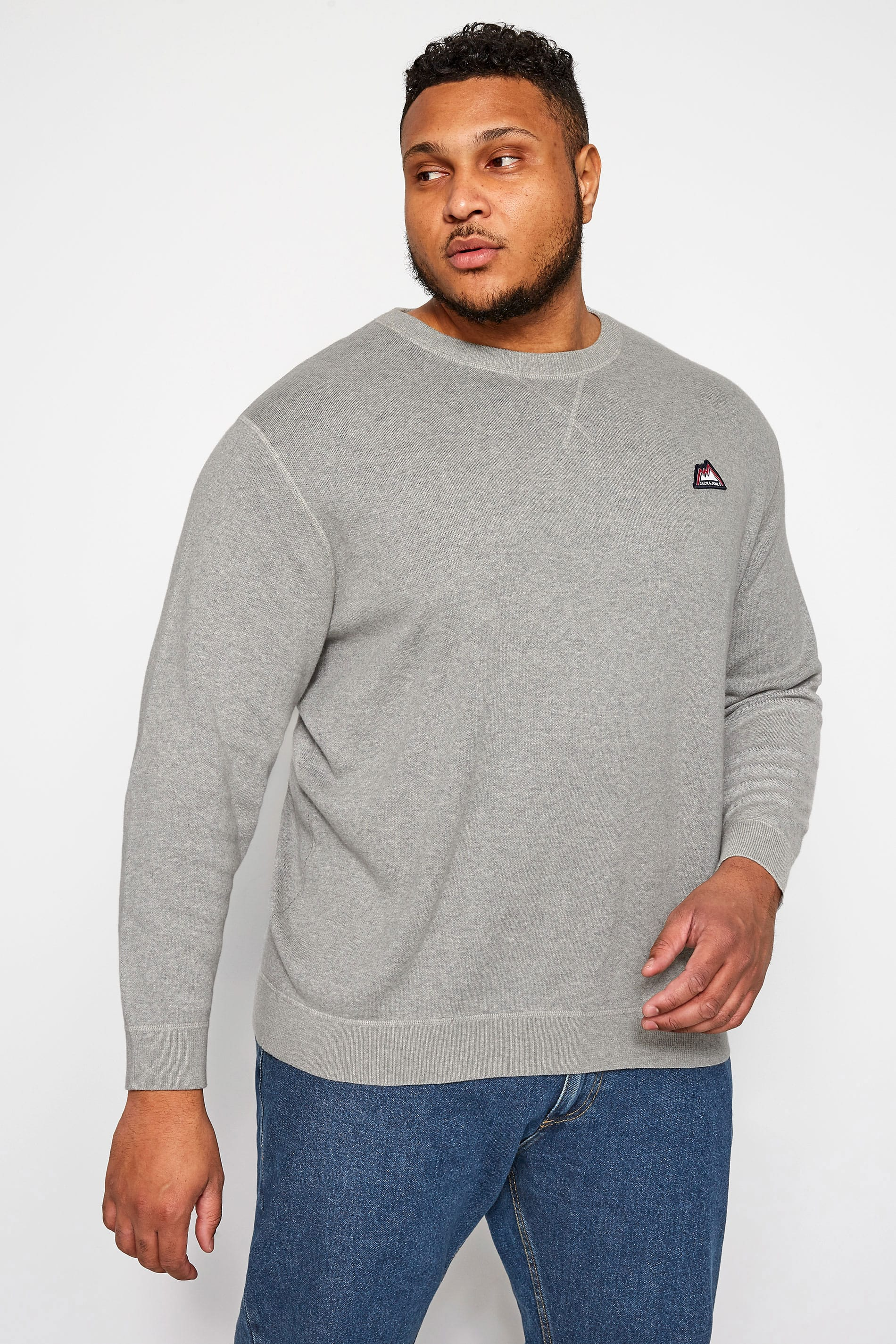 JACK & JONES Grey Crew Neck Sweatshirt