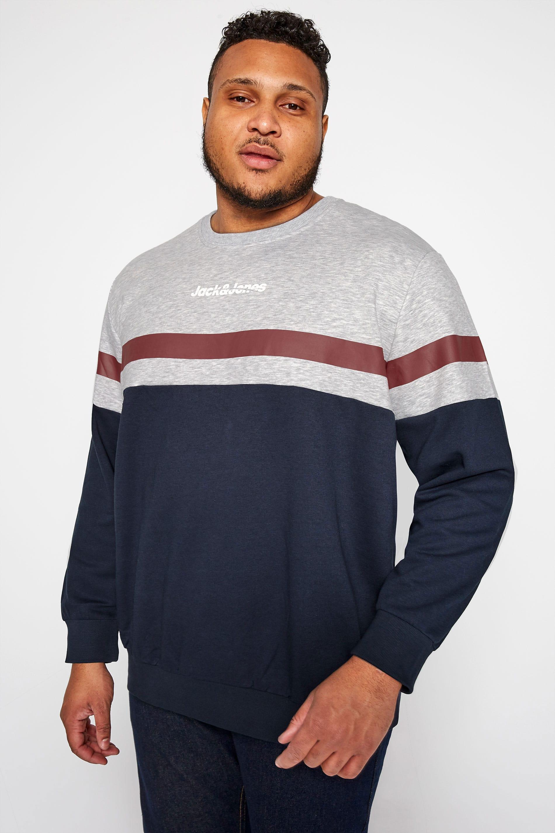 JACK & JONES Grey & Navy Colour Block Sweatshirt