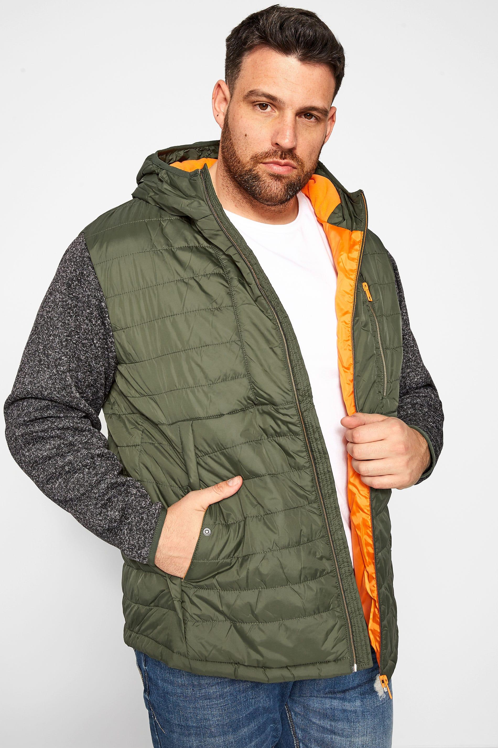 JACK & JONES Khaki Contrast Sleeve Padded Jacket