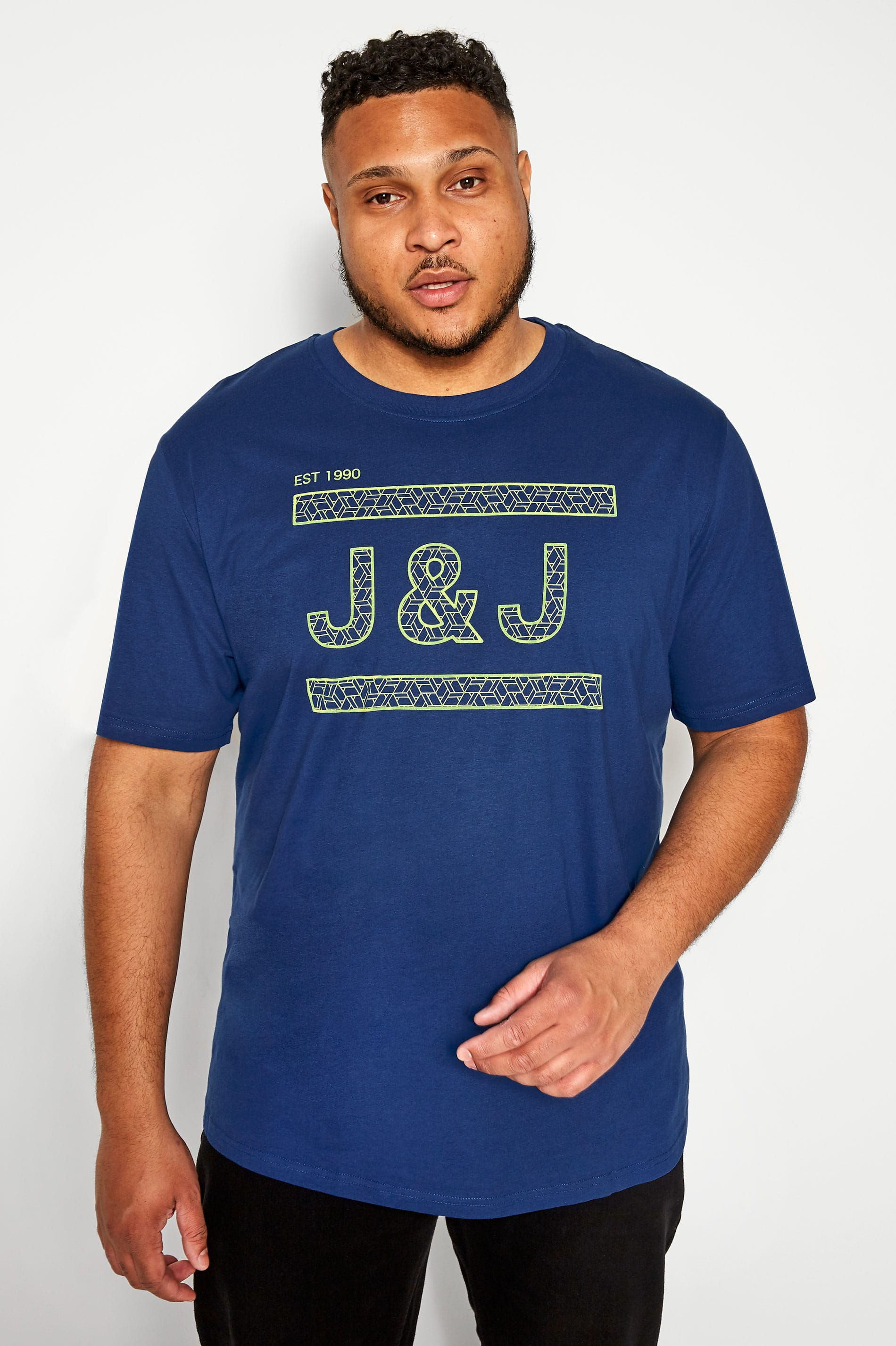 JACK & JONES Navy Graphic Print Logo T-Shirt