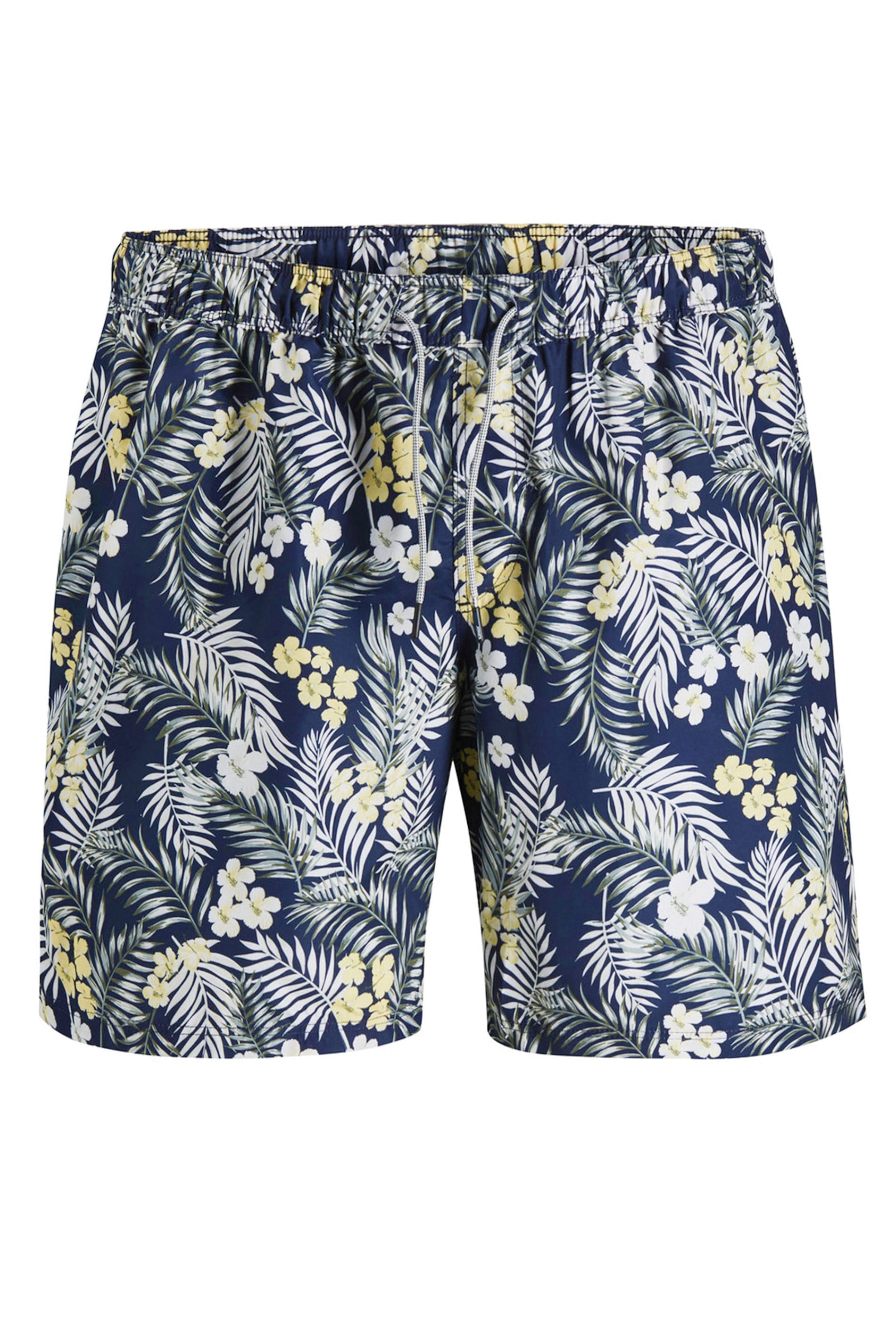 JACK & JONES Navy Tropical Print Swim Shorts