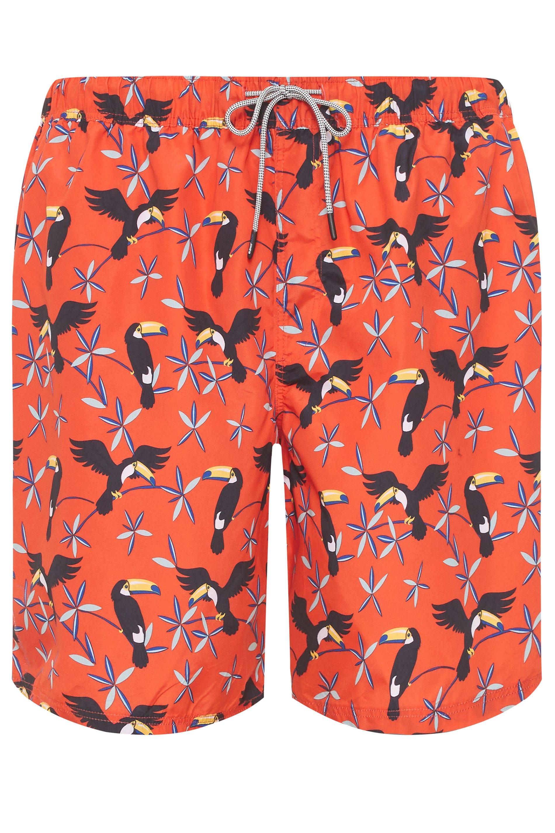 JACK & JONES Orange Bird Print Swim Shorts