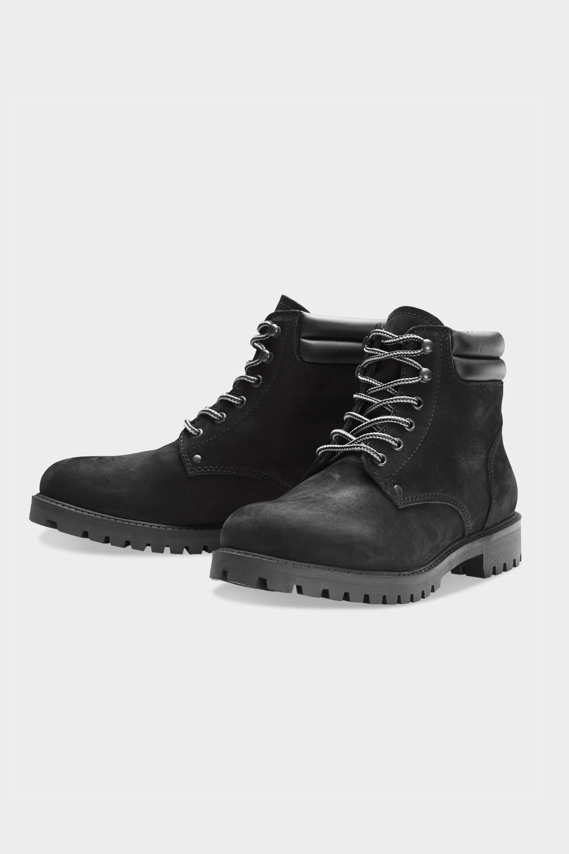 JACK & JONES Black Nubuck Leather Boots