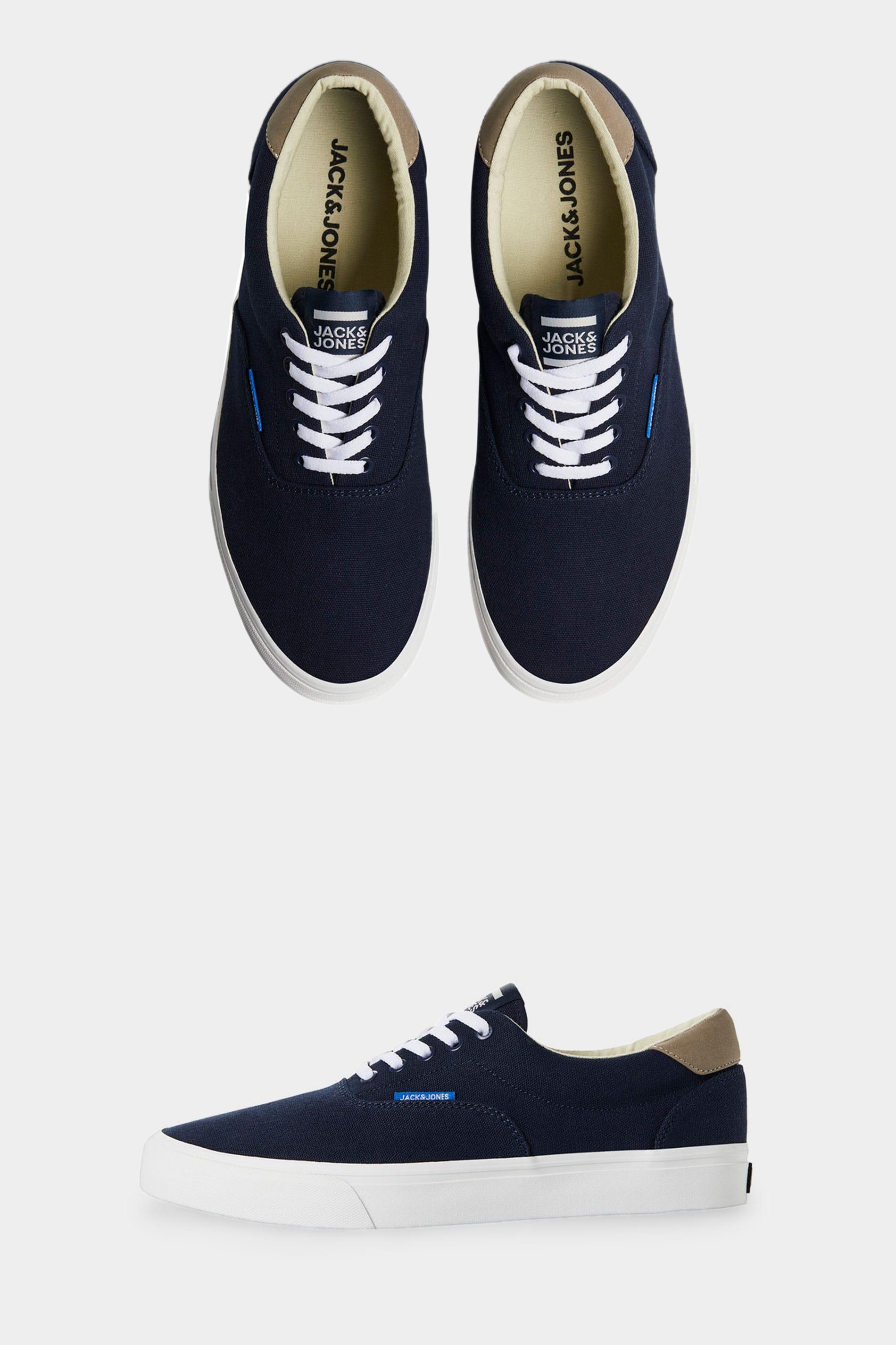 JACK & JONES - Canvas sneakers in donkerblauw