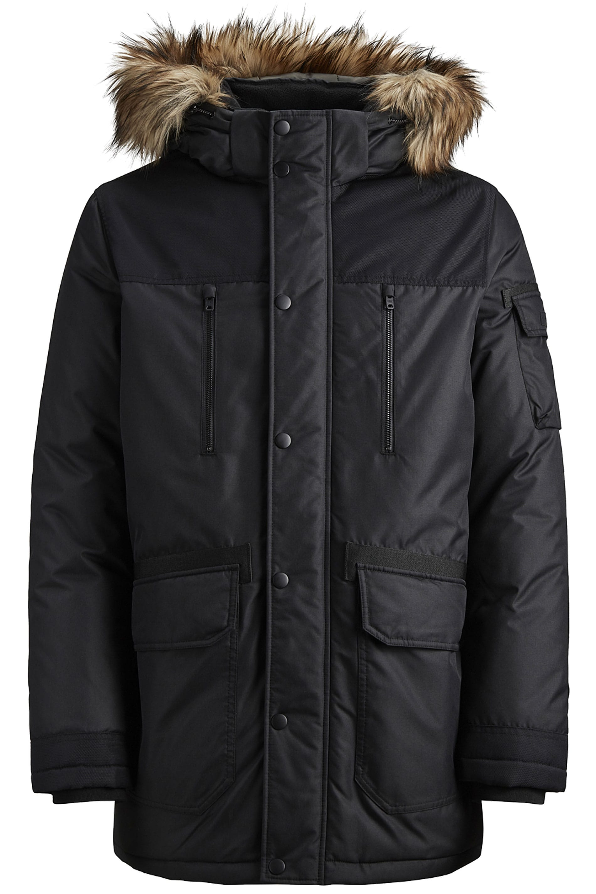JACK & JONES Black Faux Fur Parka Coat