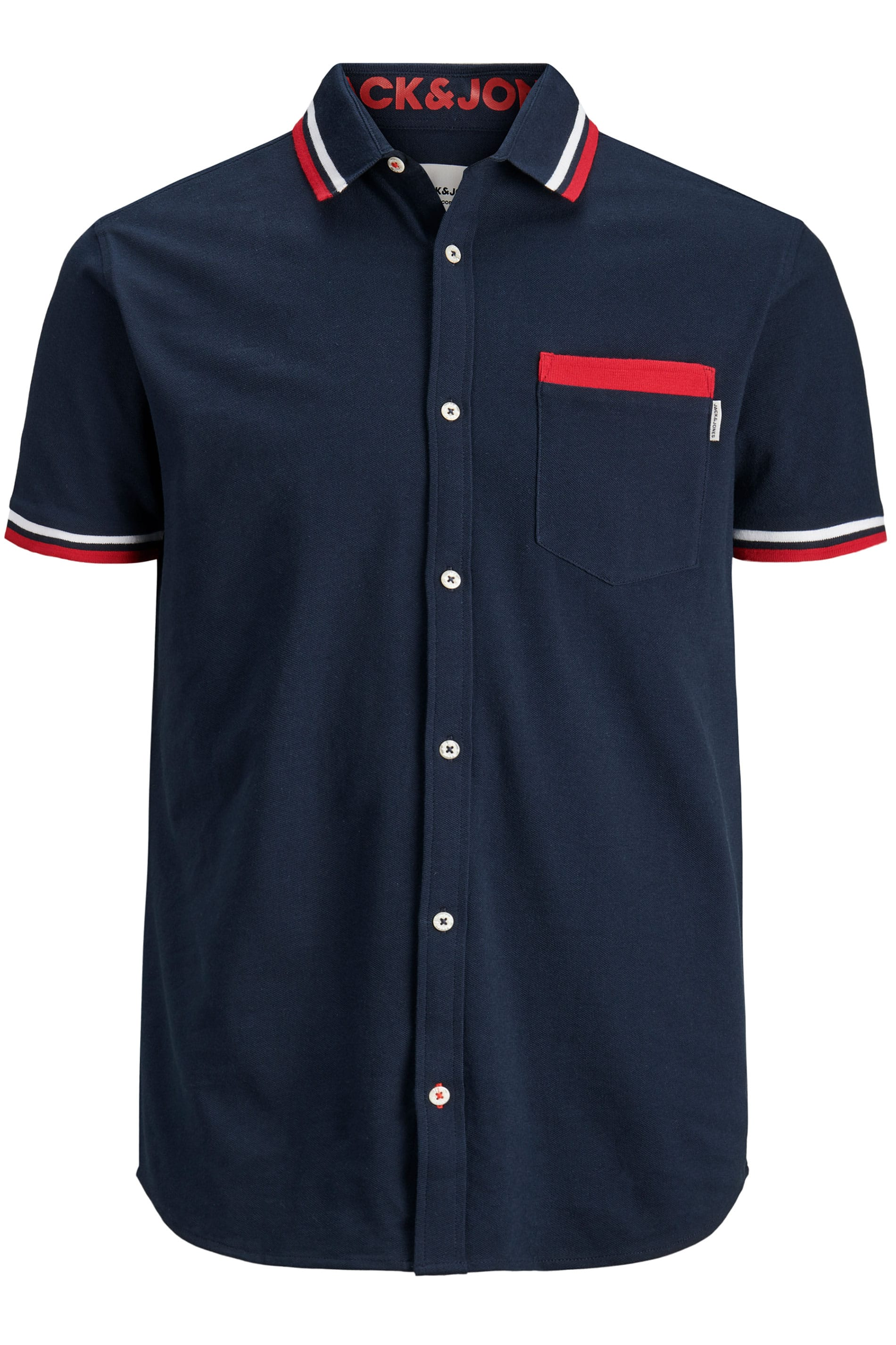 JACK & JONES Navy Cotton Pique Short Sleeved Shirt