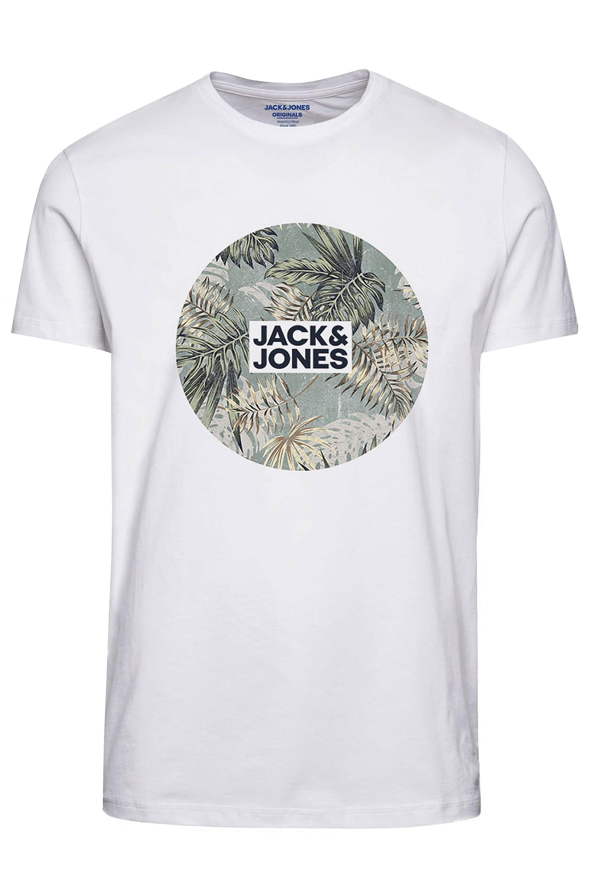 JACK & JONES White Circle Logo T-Shirt