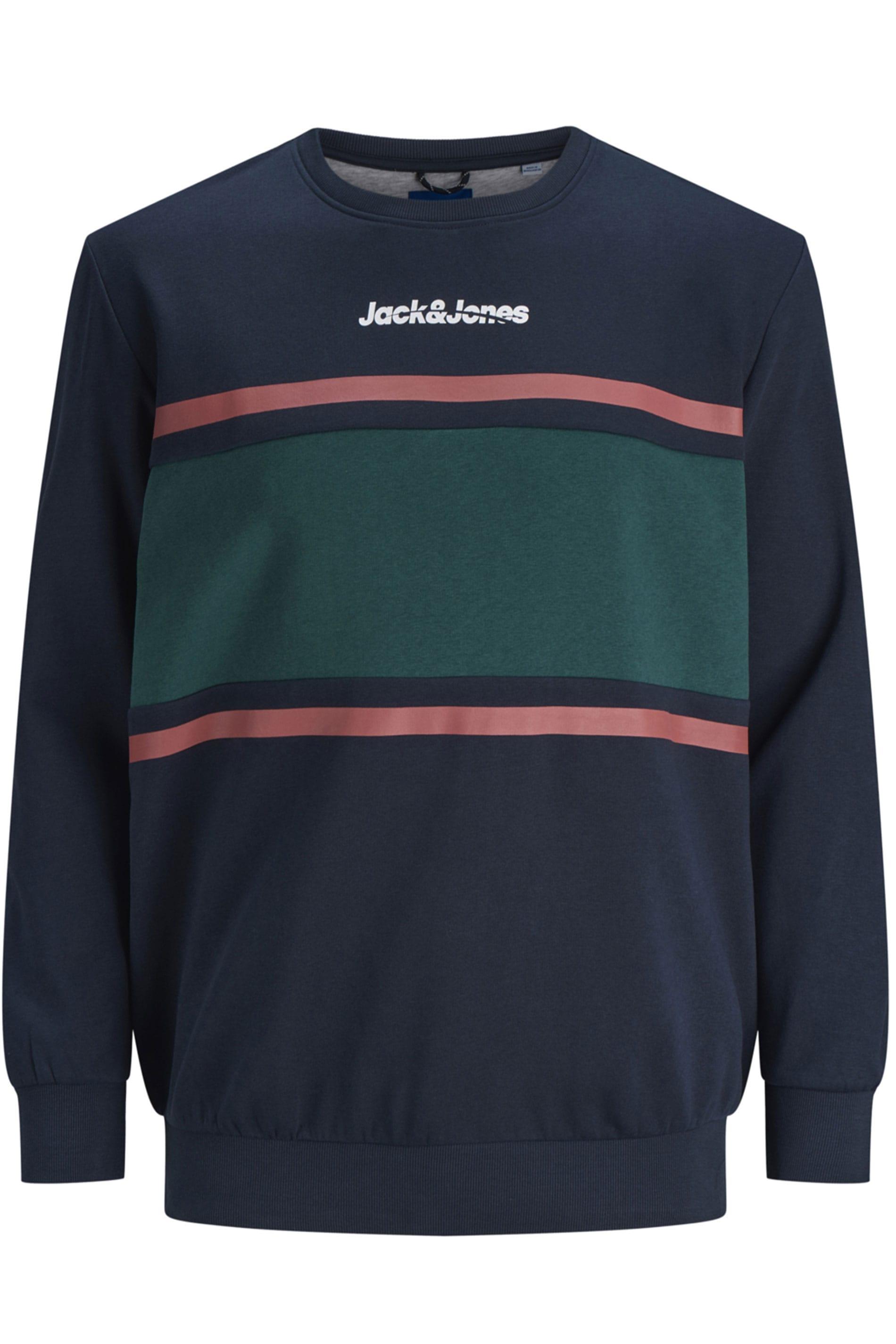 JACK & JONES Navy & Green Colour Block Sweatshirt