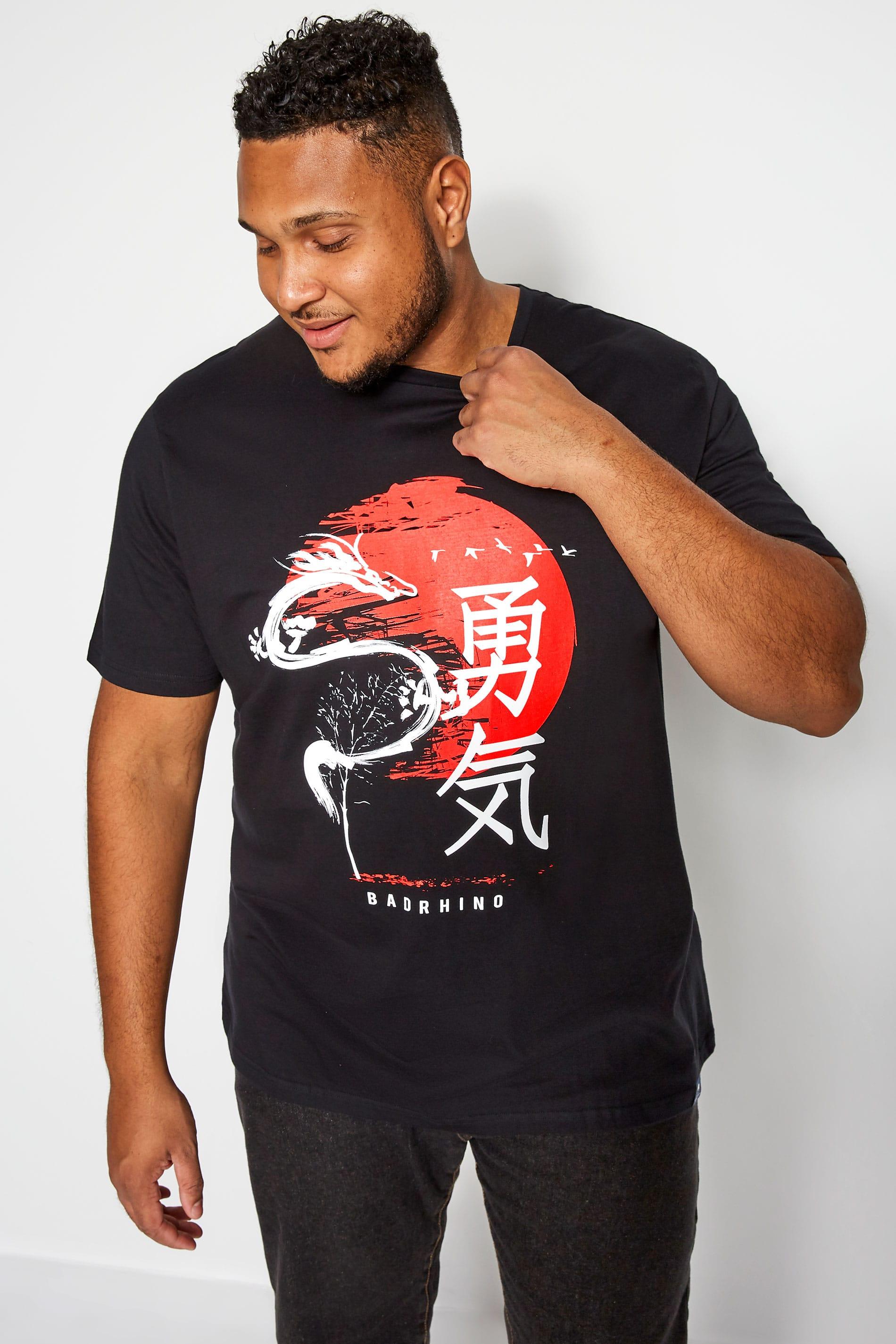 BadRhino Black Japanese Graphic Print T-Shirt