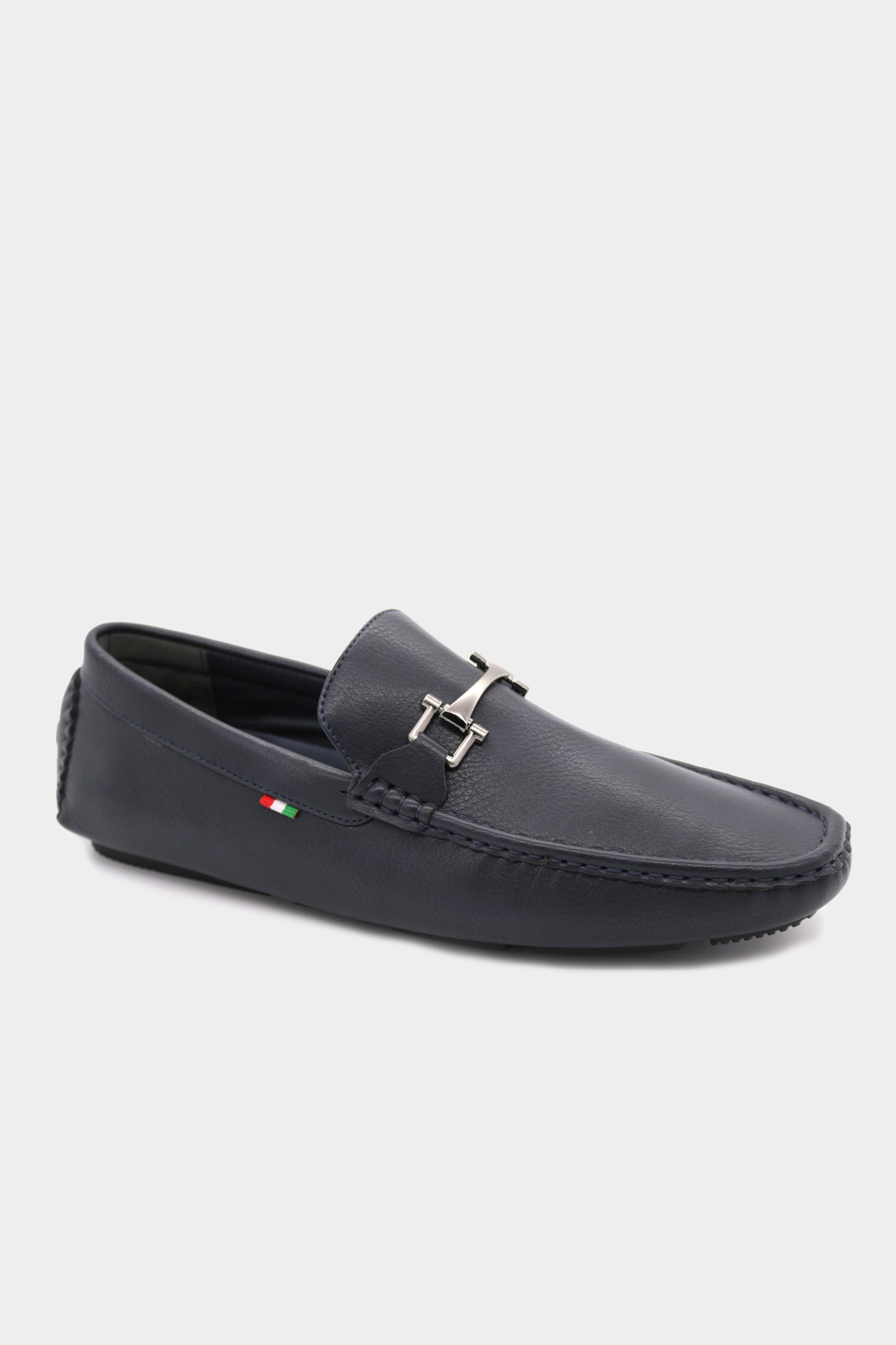 D555 Navy Faux Leather Loafers