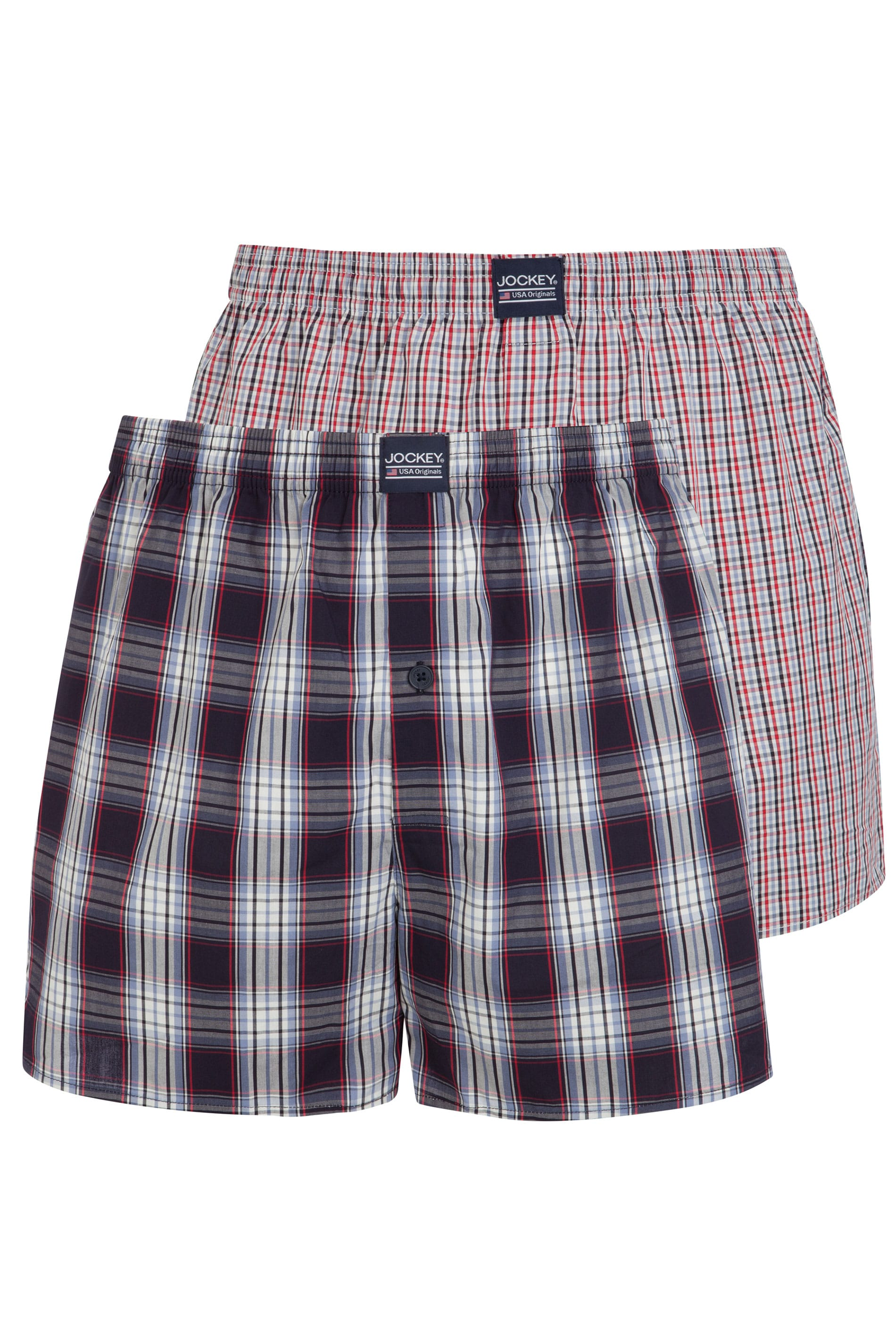 JOCKEY 2 PACK Red Woven Checked Boxers
