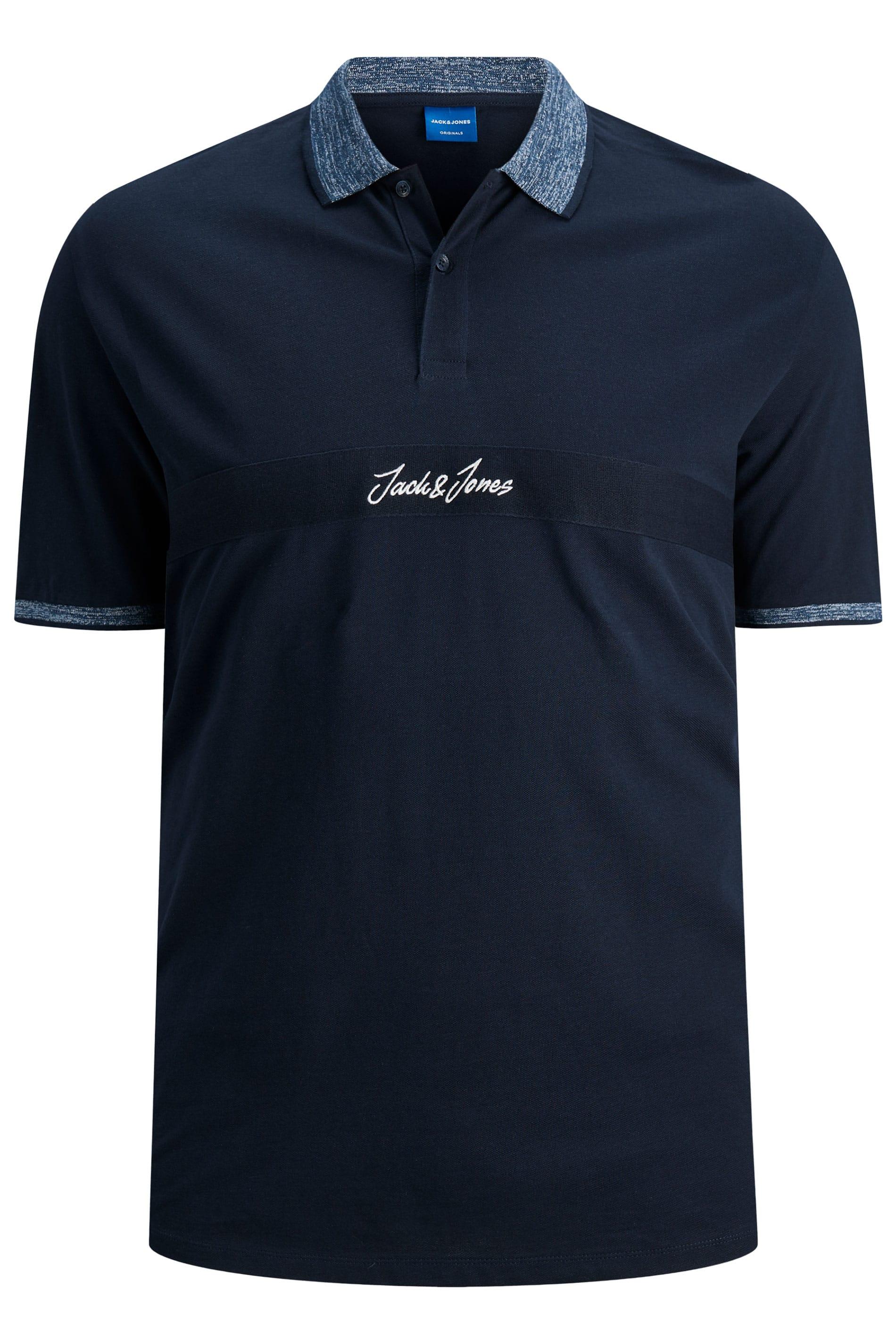 JACK & JONES Navy Contrast Polo Shirt