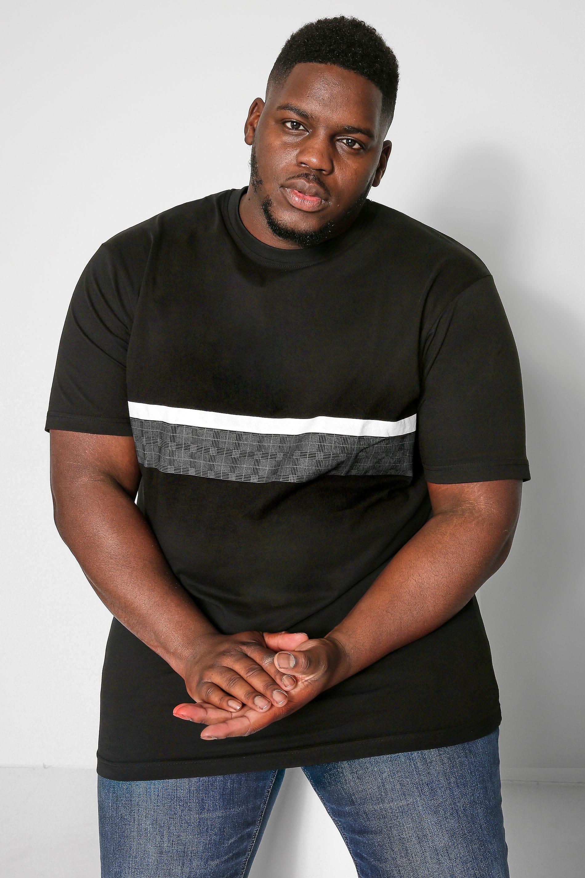 KAM Black Block Printed T-Shirt