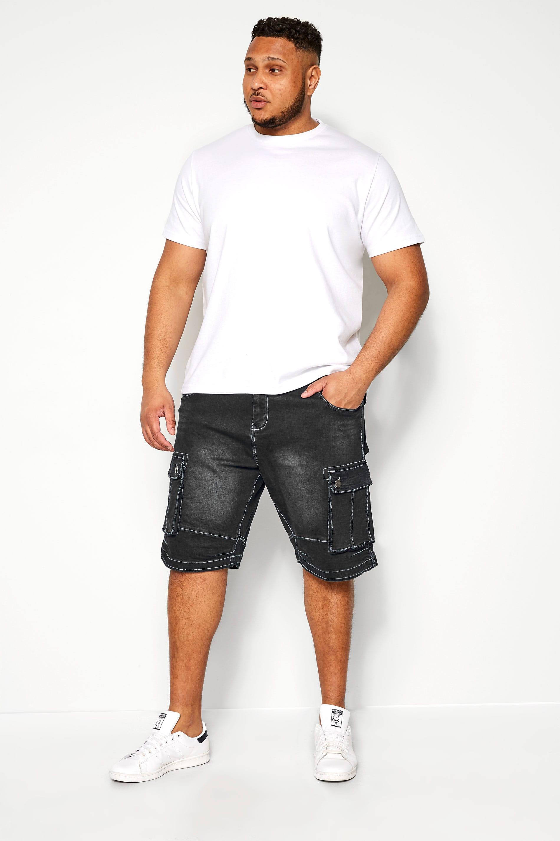 KAM Black Cargo Denim Shorts