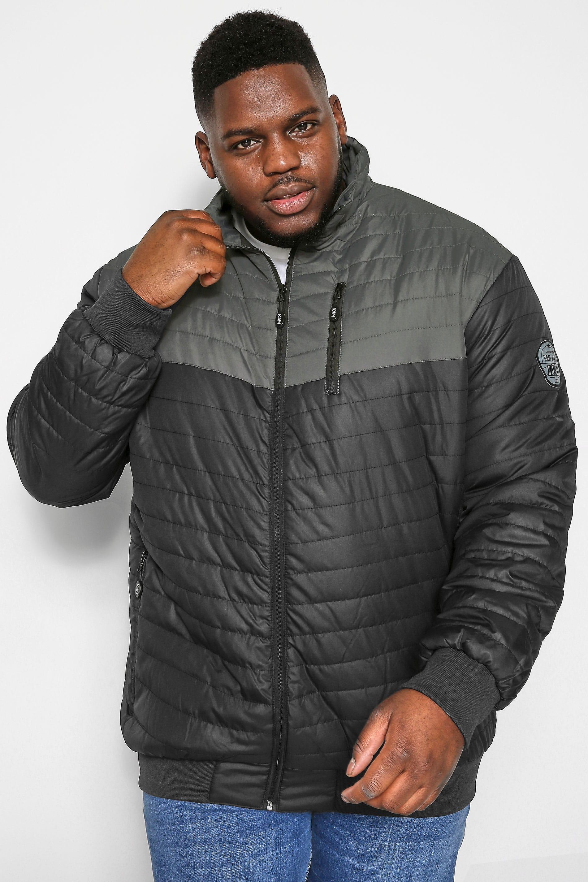 KAM Black Contrast Padded Puffer Jacket