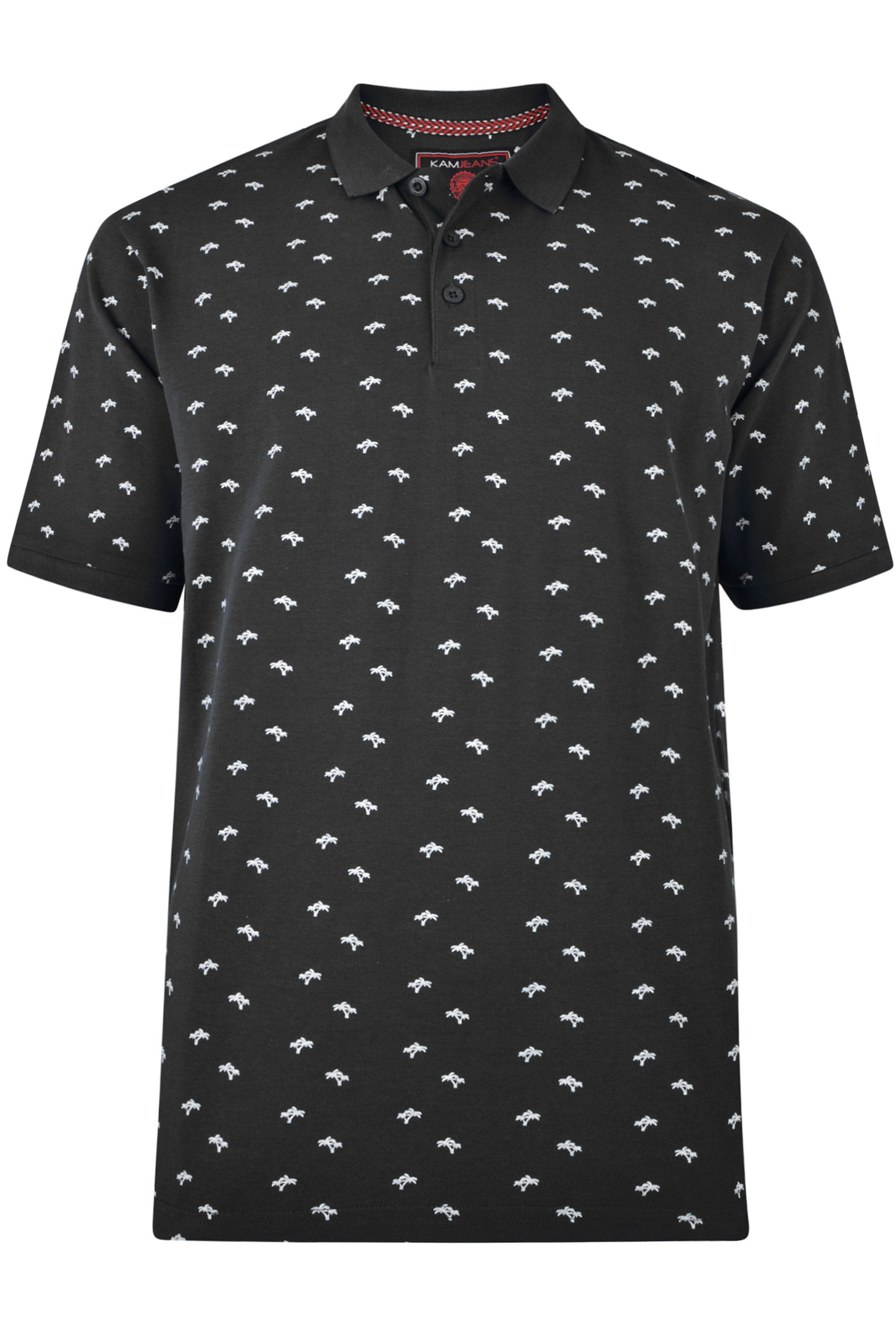 KAM Black Palm Print Polo Shirt