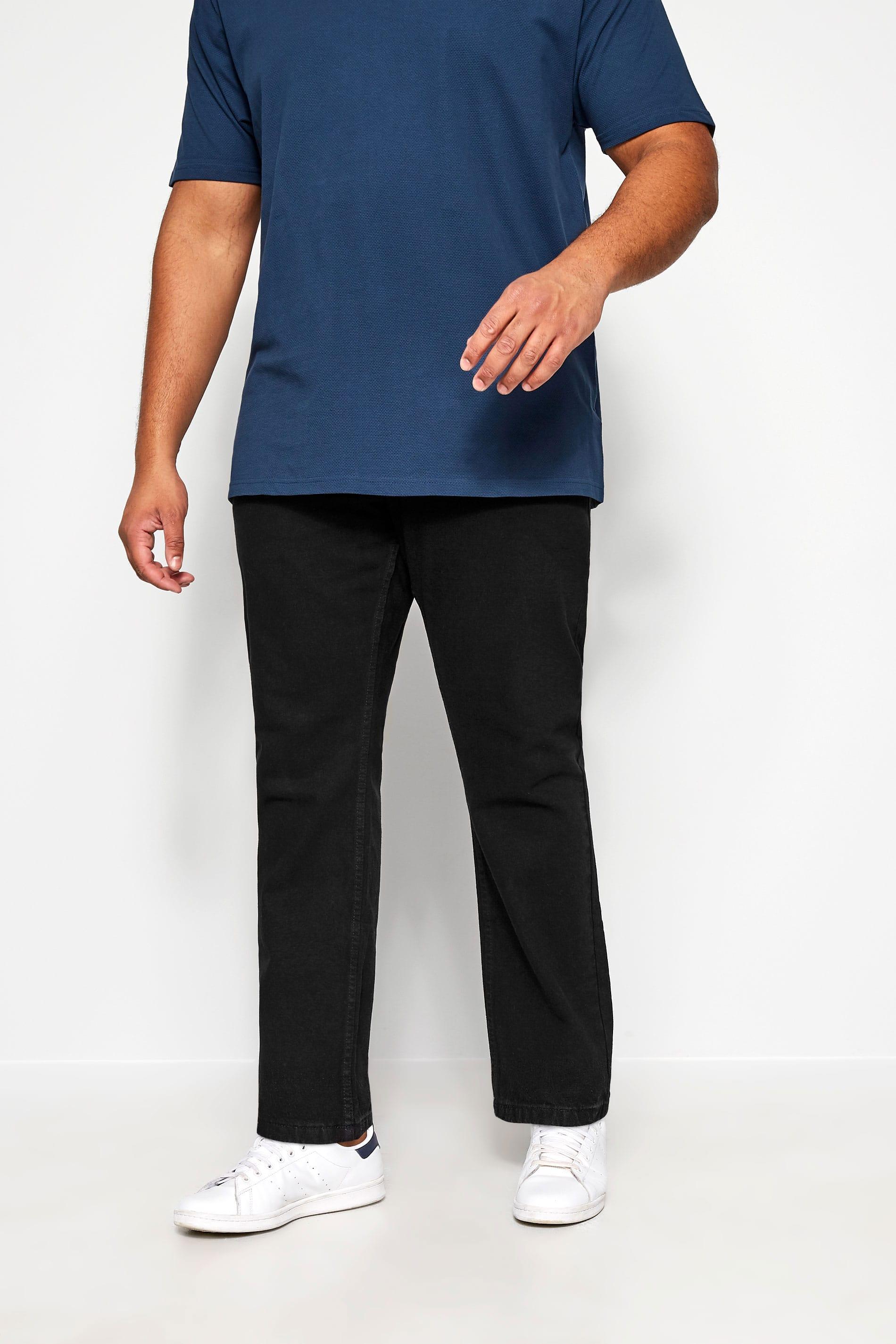 KAM Black Regular Fit Stretch Jeans