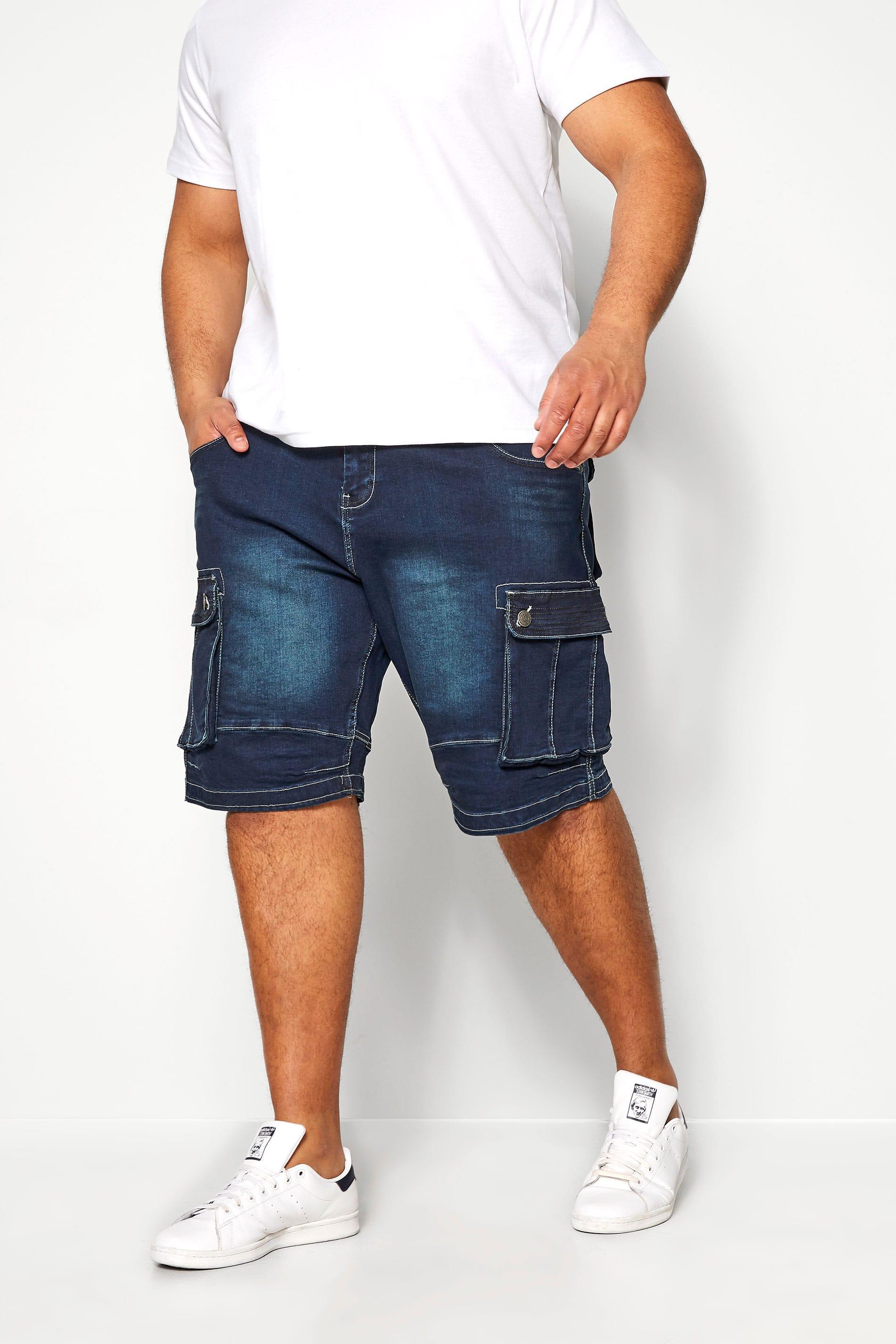 KAM Dark Blue Cargo Denim Shorts