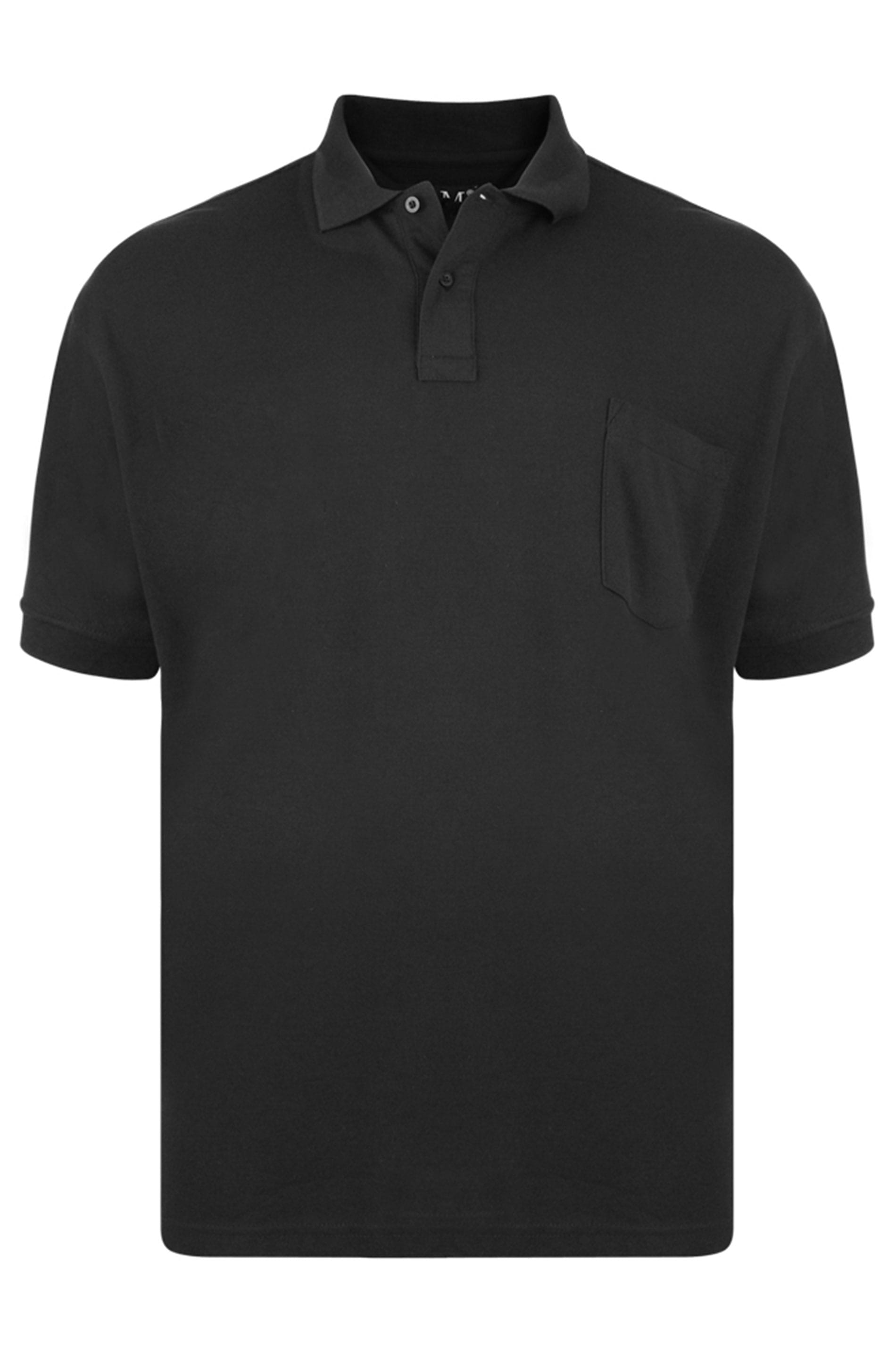 KAM Black Pocket Polo Shirt