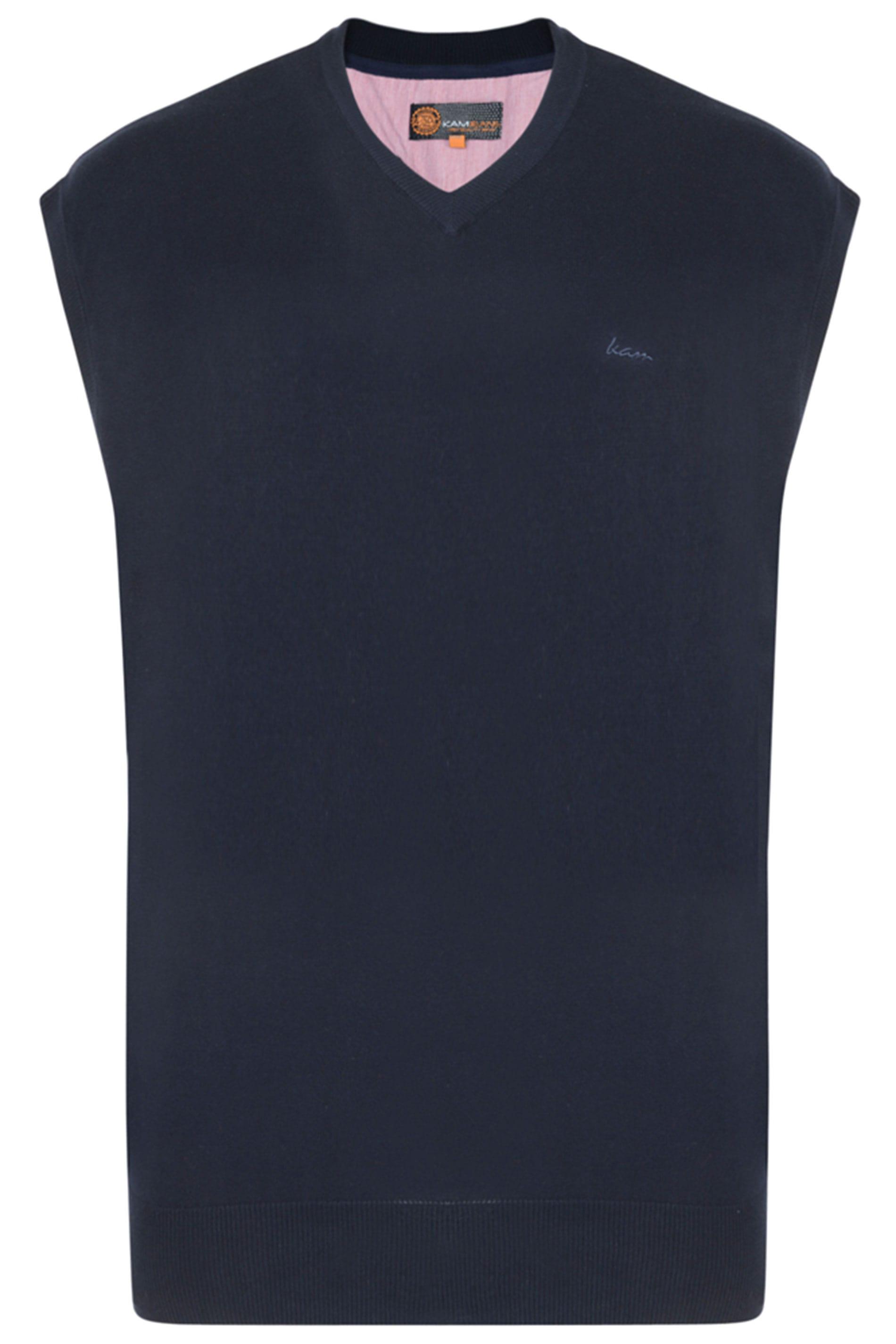 KAM Navy Sleeveless Knitted Jumper
