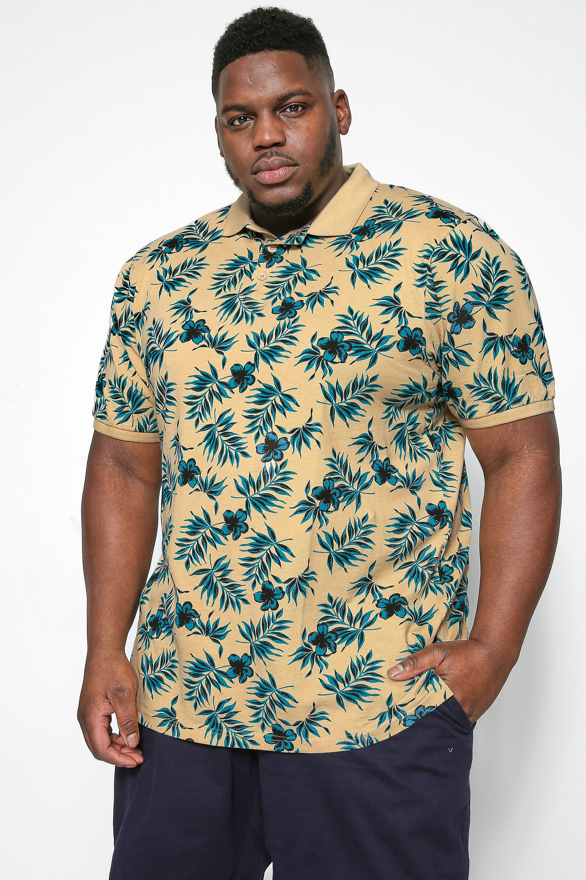 KAM Stone Tropical Print Polo Shirt