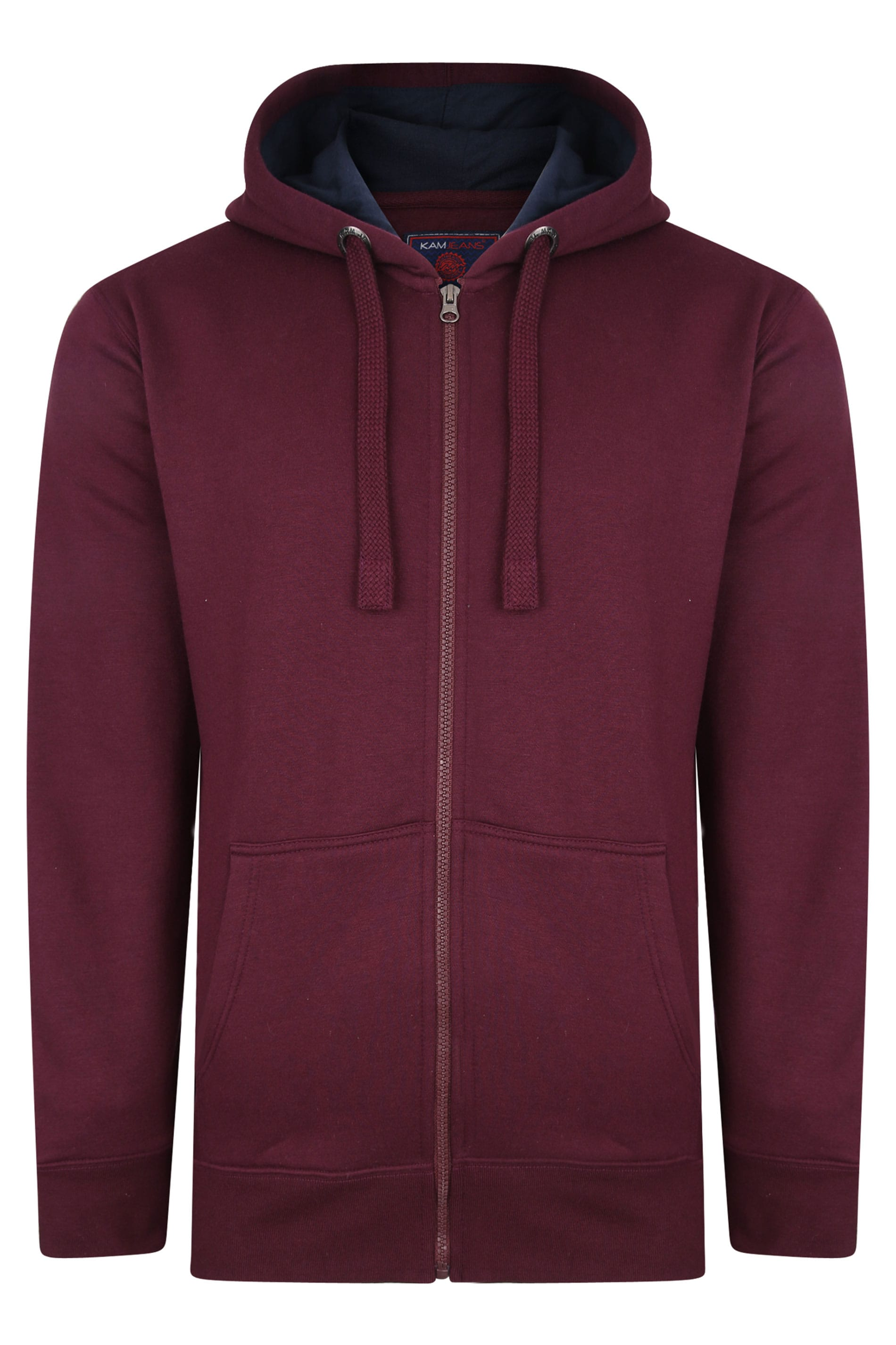 KAM Burgundy Zip Through Hoodie