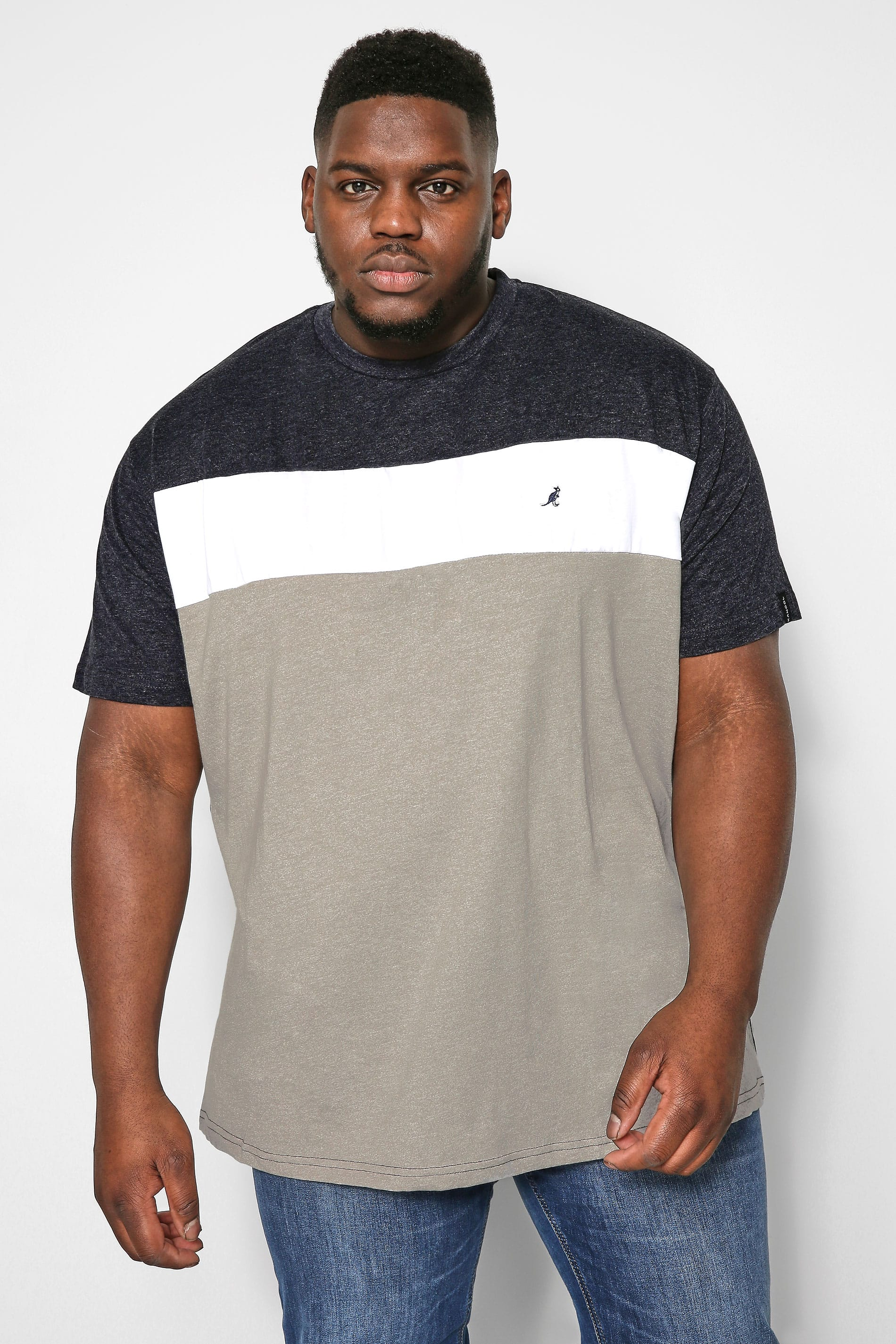 KANGOL Color-Block T-Shirt - Grau meliert