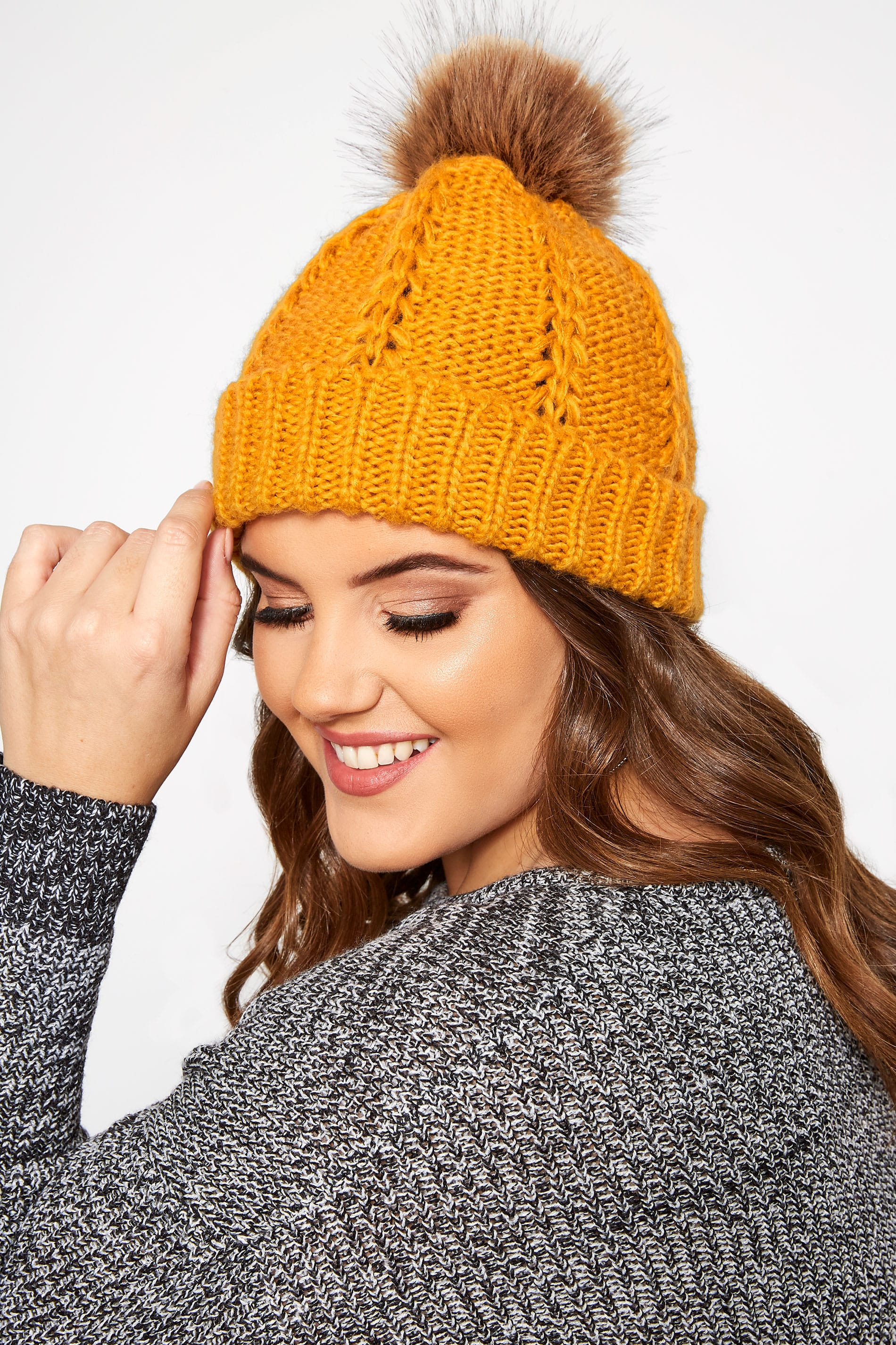 Mustard Knitted Bobble Hat