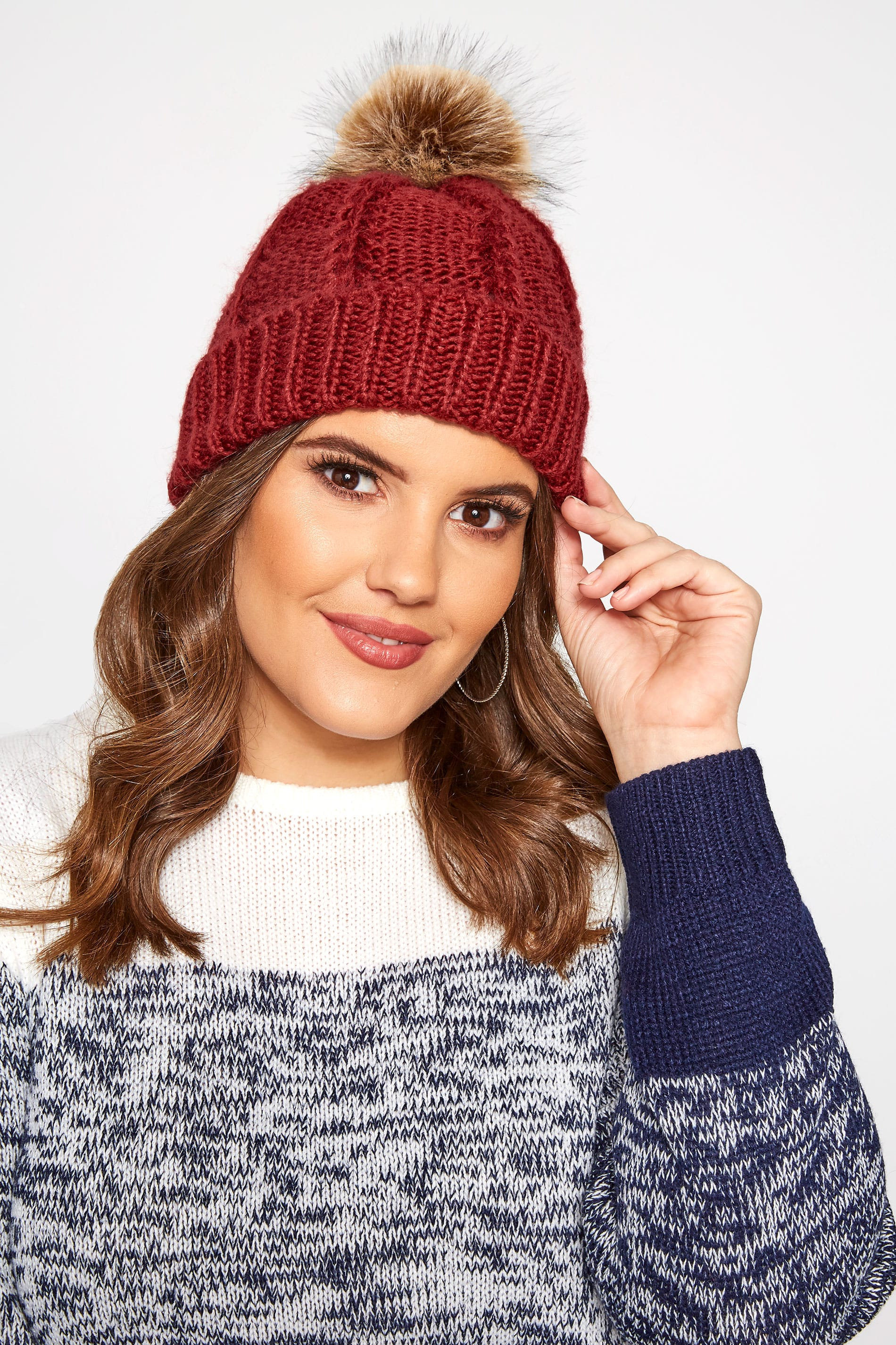 Dark Wine Knitted Bobble Hat