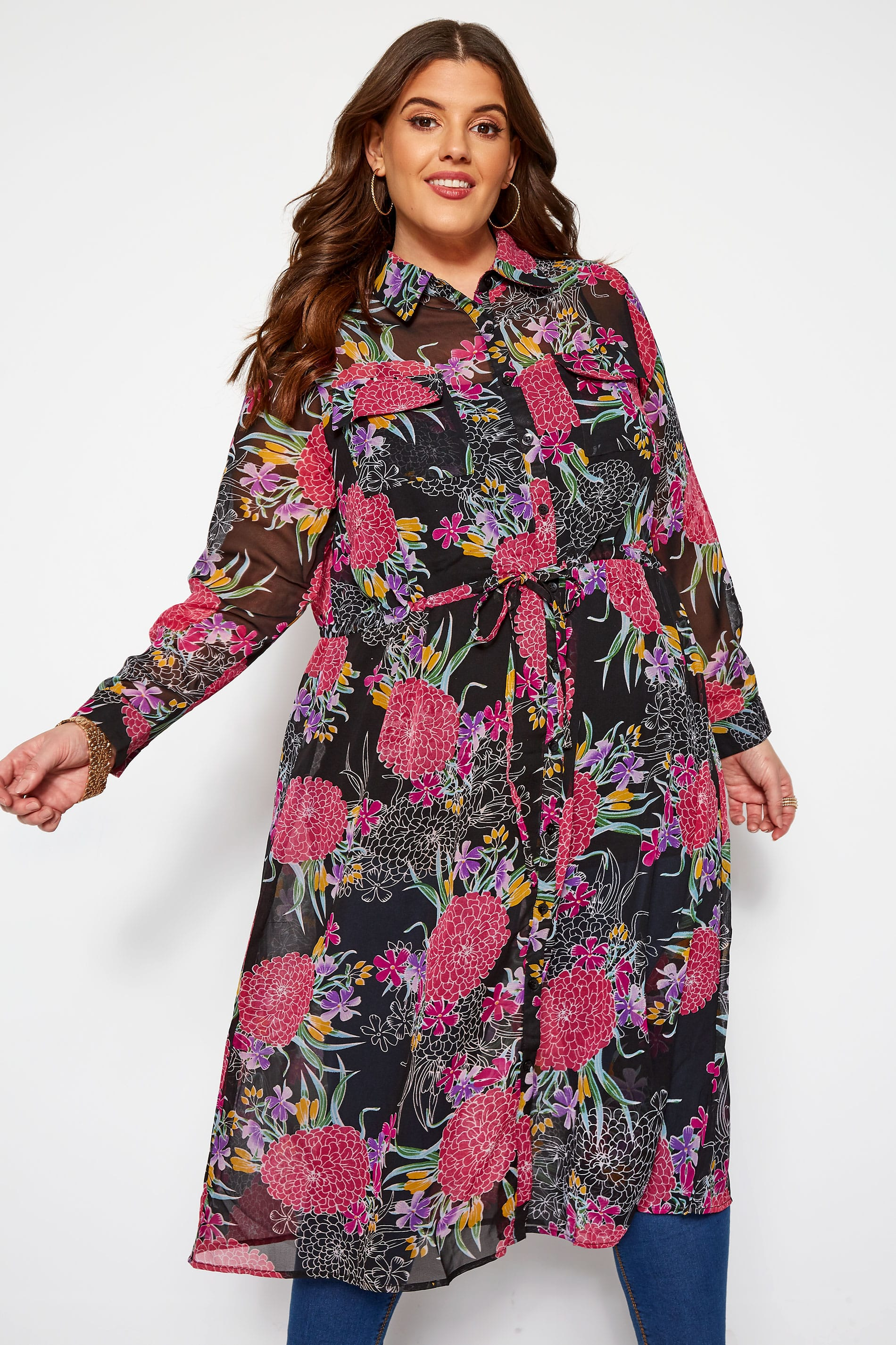 KOKO Black Floral Chiffon Shirt Dress