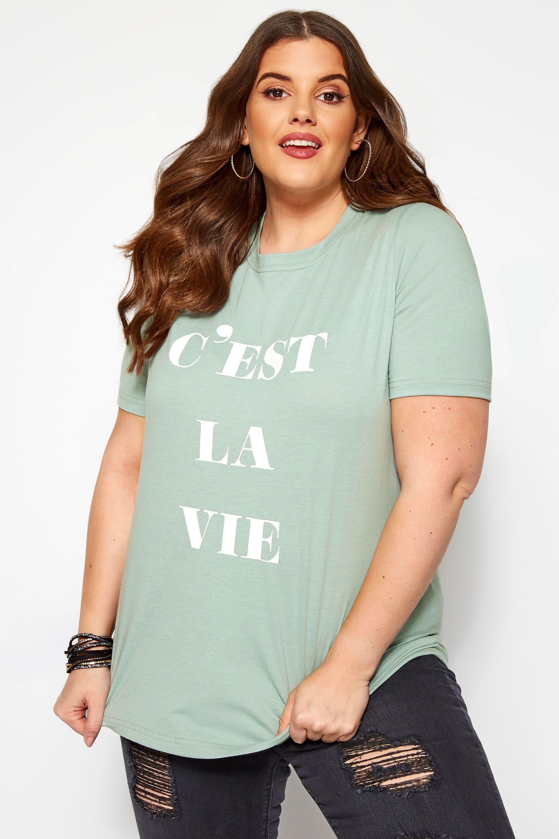 KOKO Mint Green 'C'est La Vie' T-Shirt