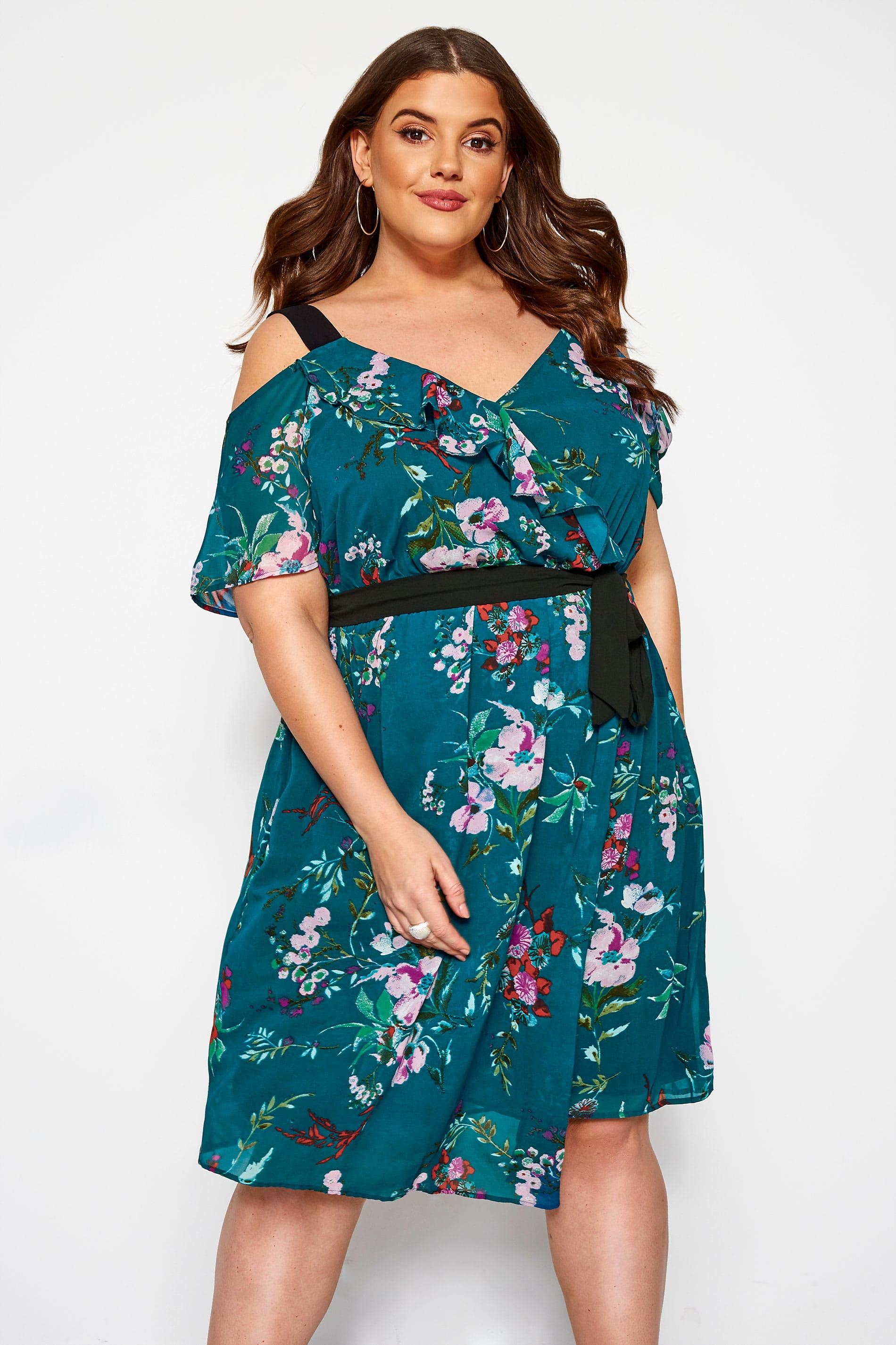 KOKO Teal Floral Cold Shoulder Dress