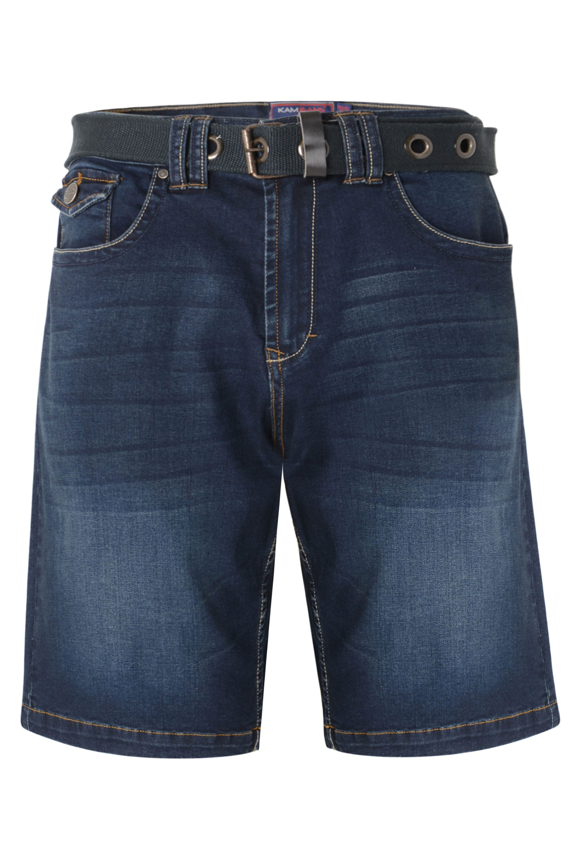 KAM Dark Blue Belted Denim Shorts