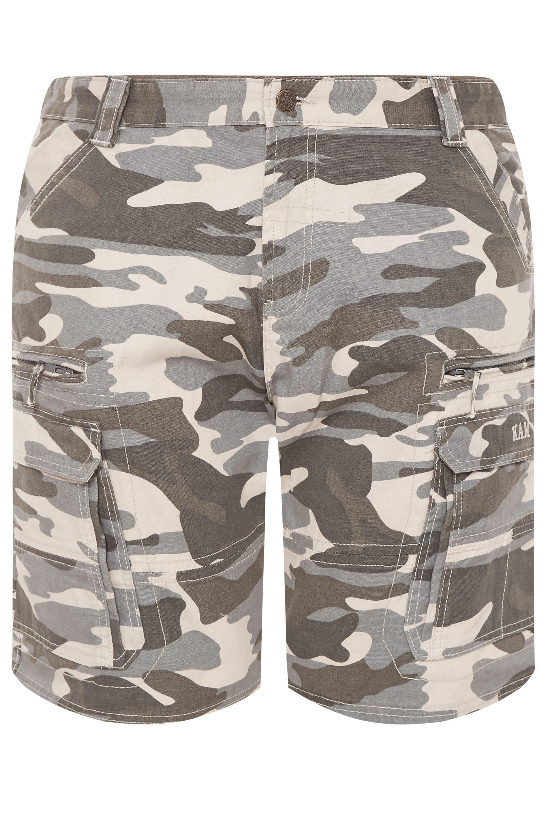 KAM Charcoal Grey Camo Cargo Shorts