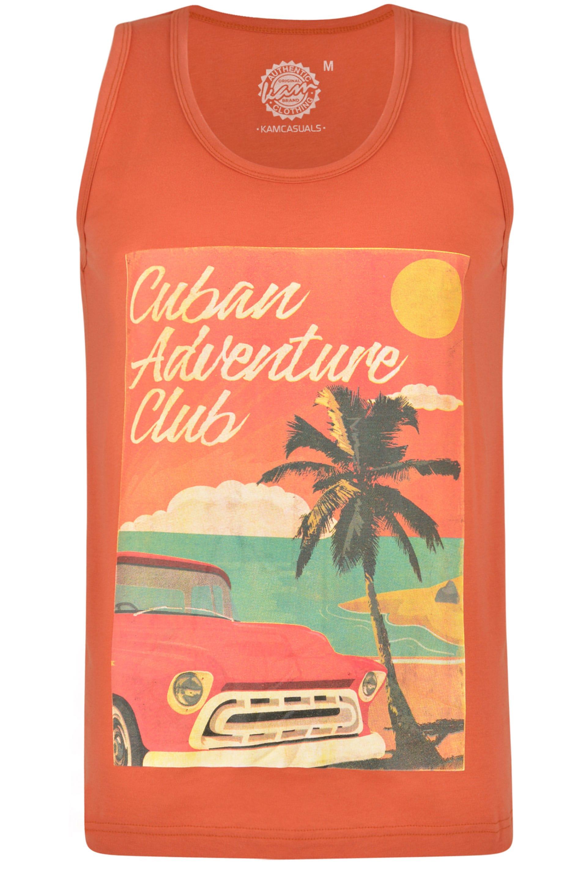 KAM Rust Orange Cuban Graphic Print Vest