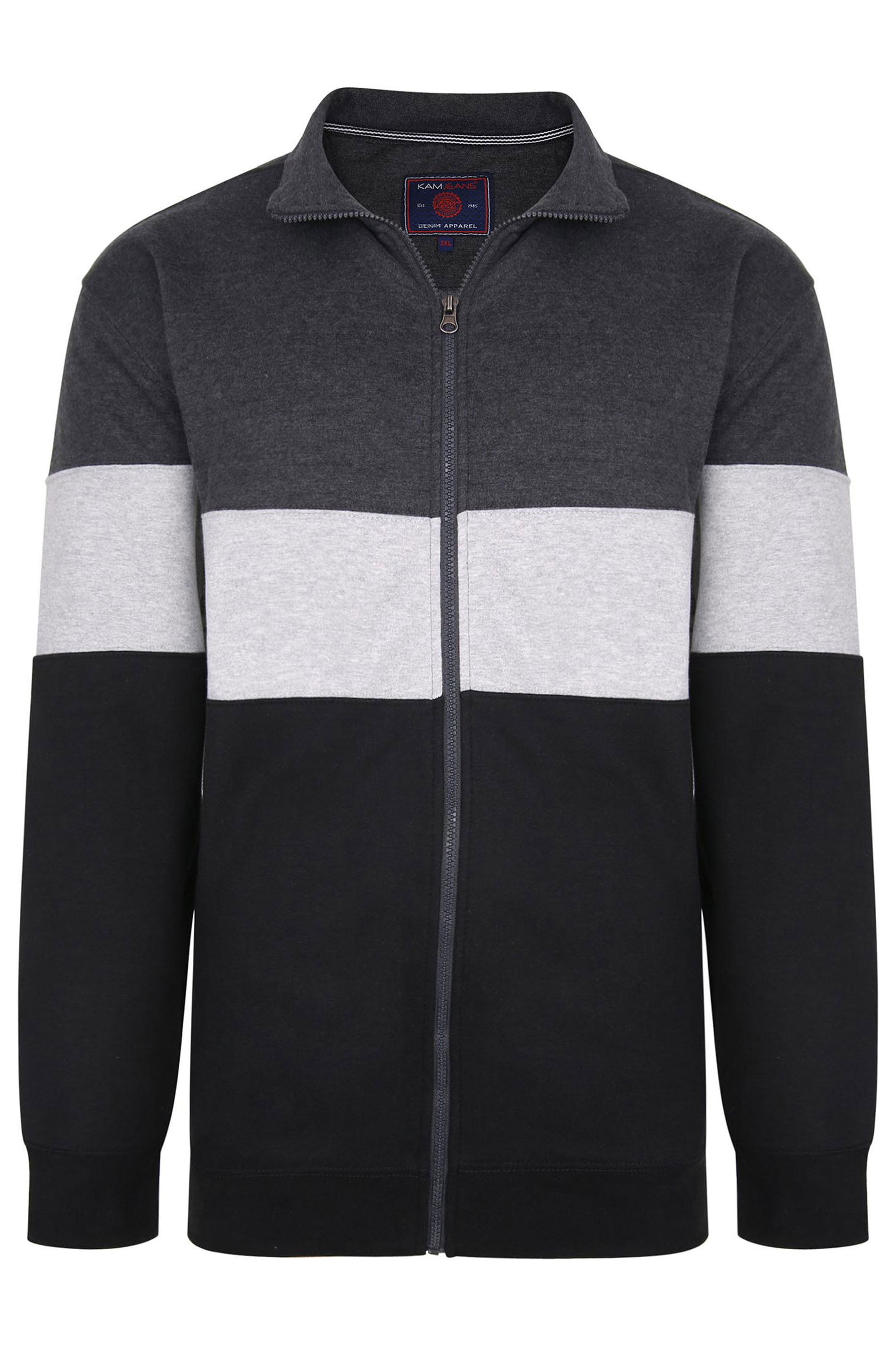 KAM Grey Colour Block Zip Sweatshirt