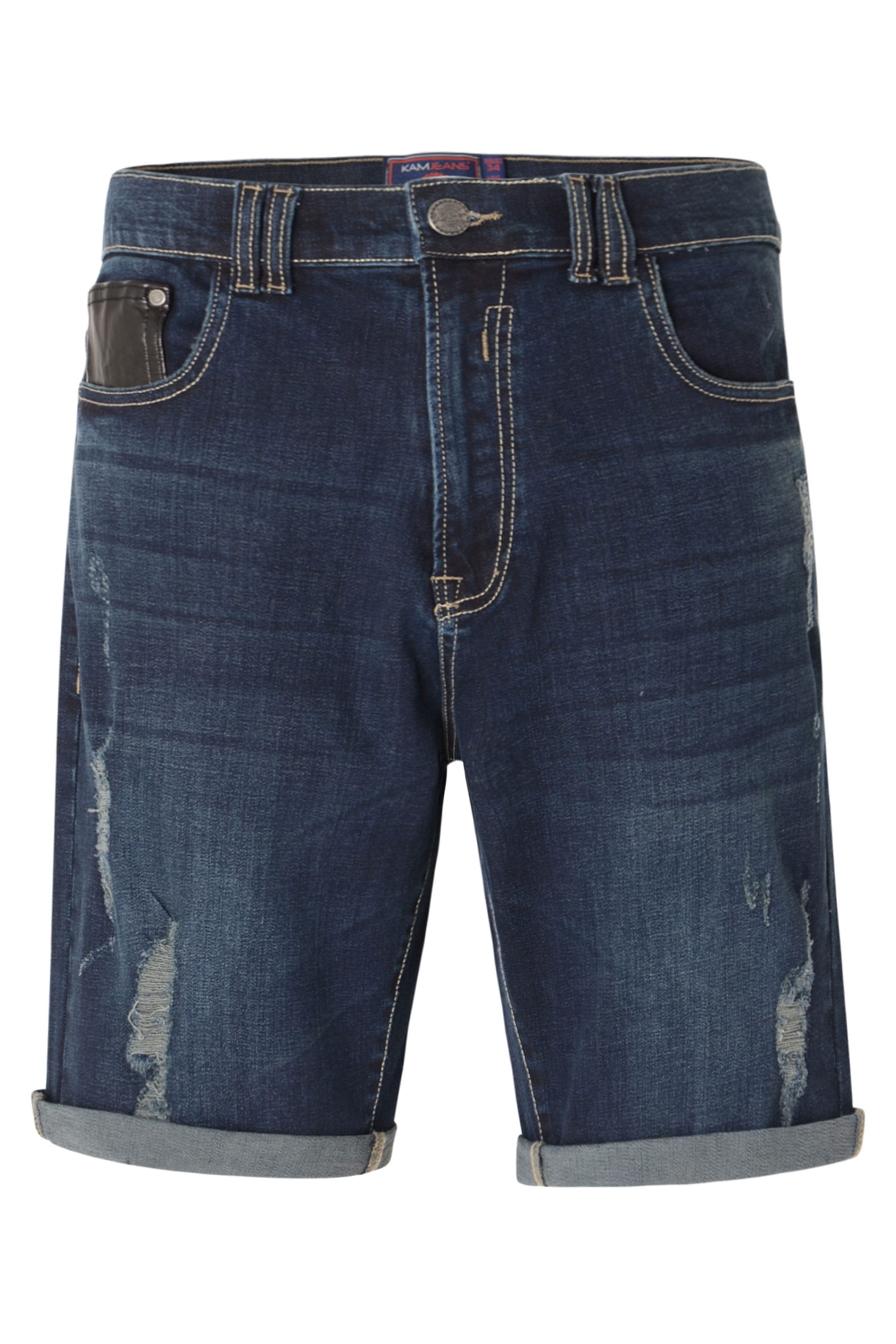 KAM Dark Blue Distressed Denim Shorts_0aa9.jpg