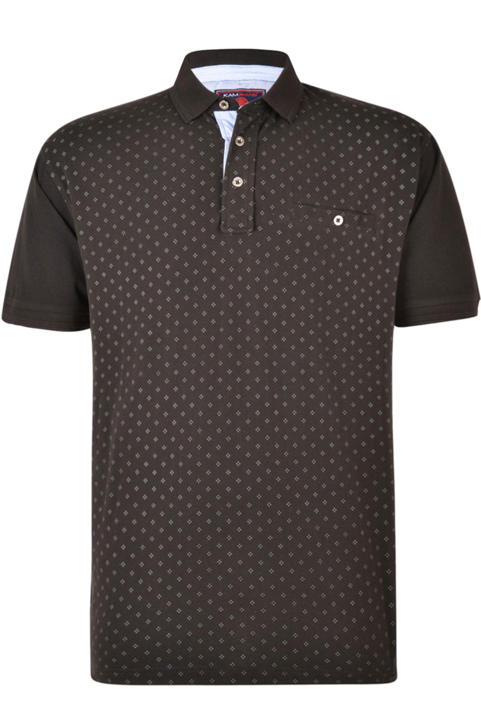 KAM Black Dobby Print Polo Shirt