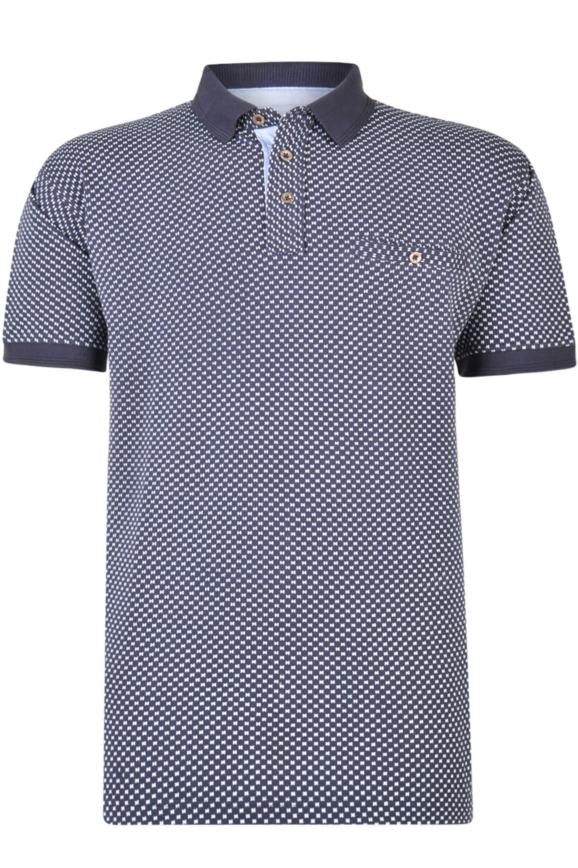 KAM Navy Dobby Print Polo Shirt