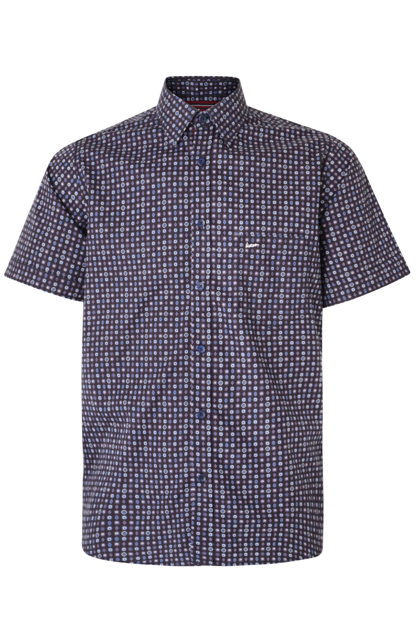 KAM Navy Dobby Print Short Sleeve Shirt