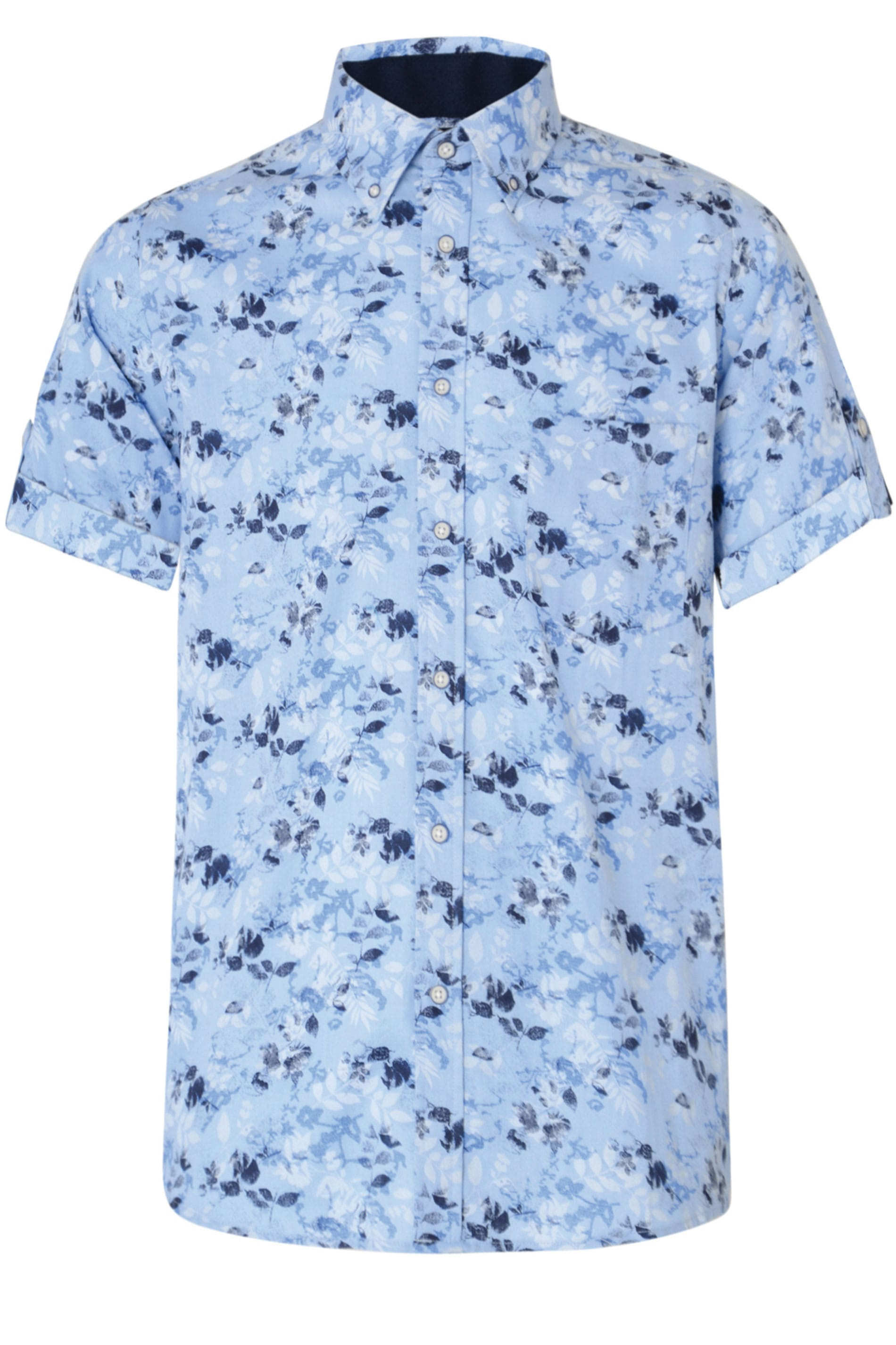 KAM Blue & Navy Floral Print Shirt