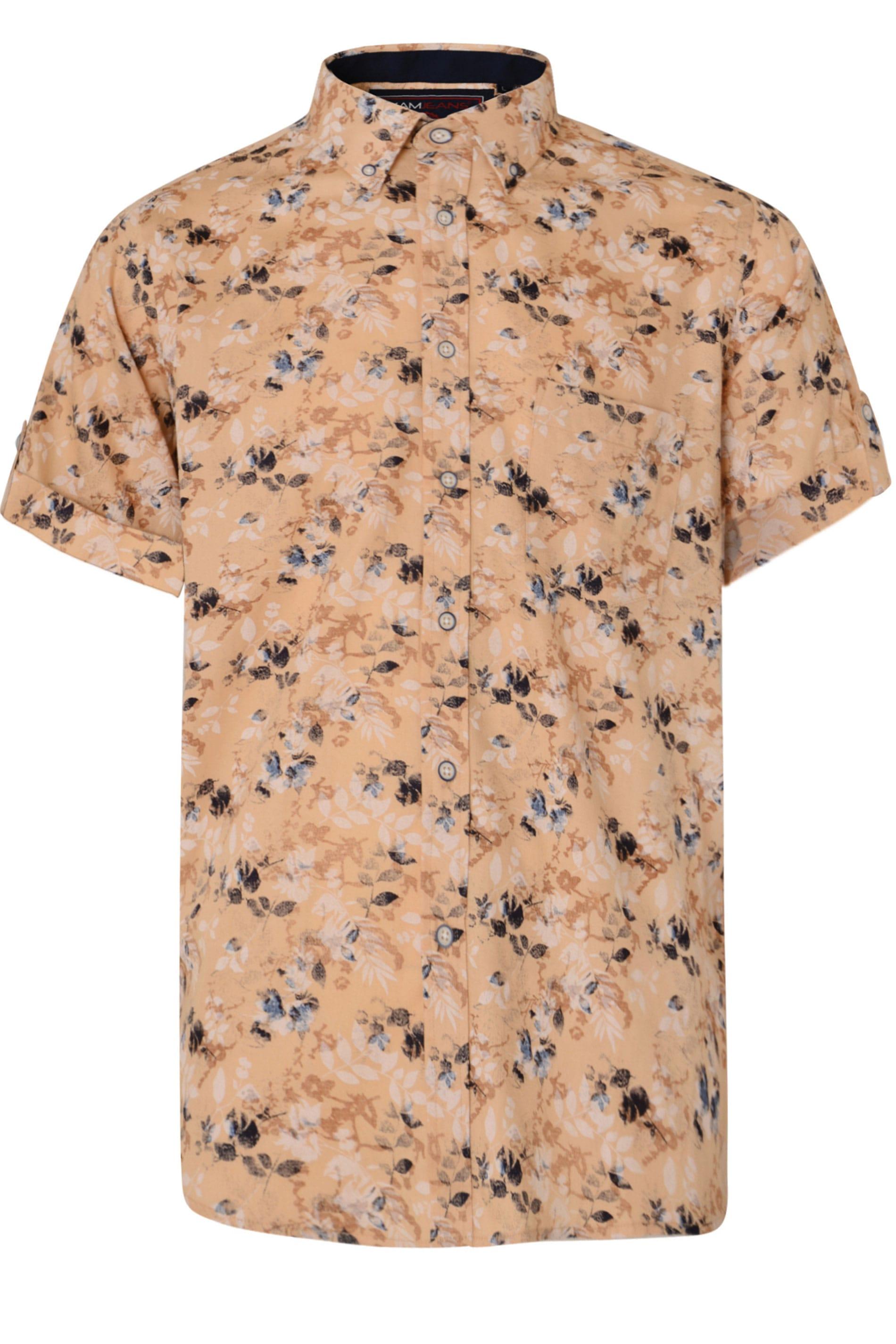 KAM Sand Floral Print Shirt